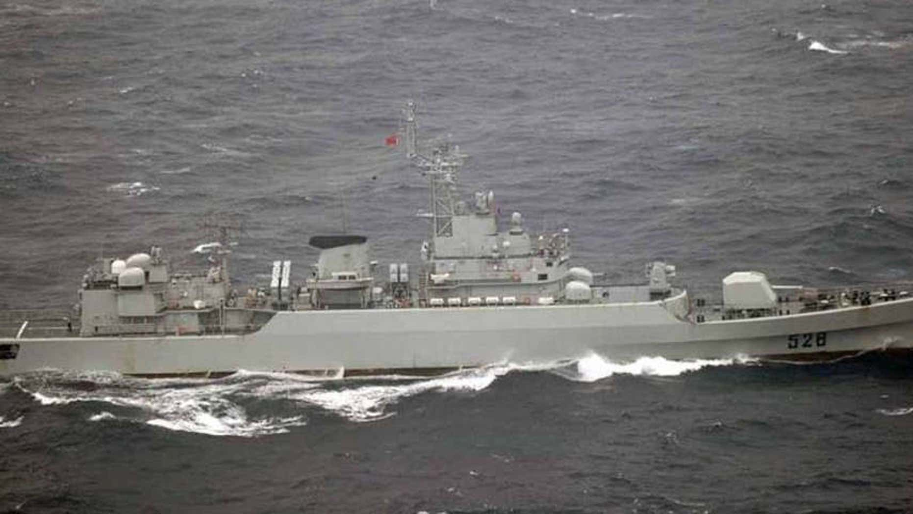 Oct. 16, 2012:  Chinese frigate sails in waters off the island of Yonaguni in Japan's Okinawa prefecture.
