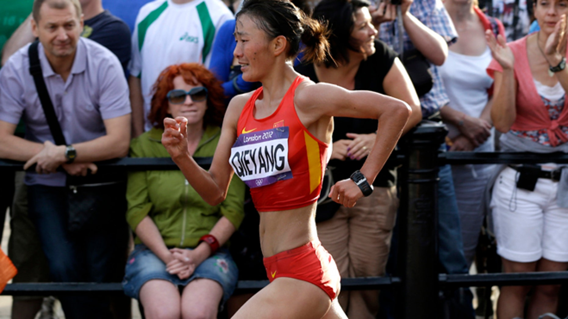 Aug. 11: China's Qieyang Shenjie competes in the women's 20-kilometer race walk at the 2012 Summer Olympics.