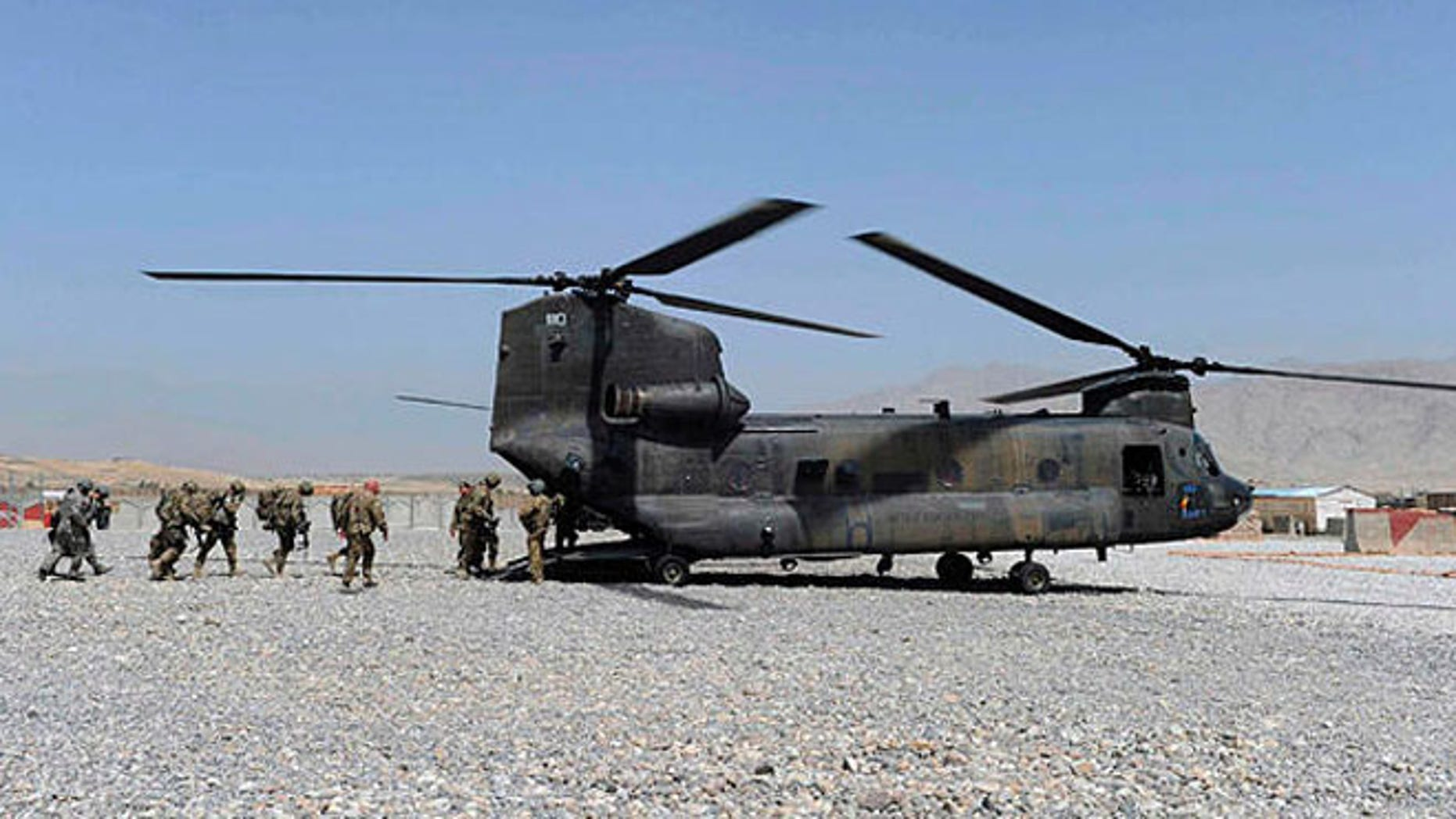 Shown here is a military Chinook helicopter in Laghman province, Afghanistan.
