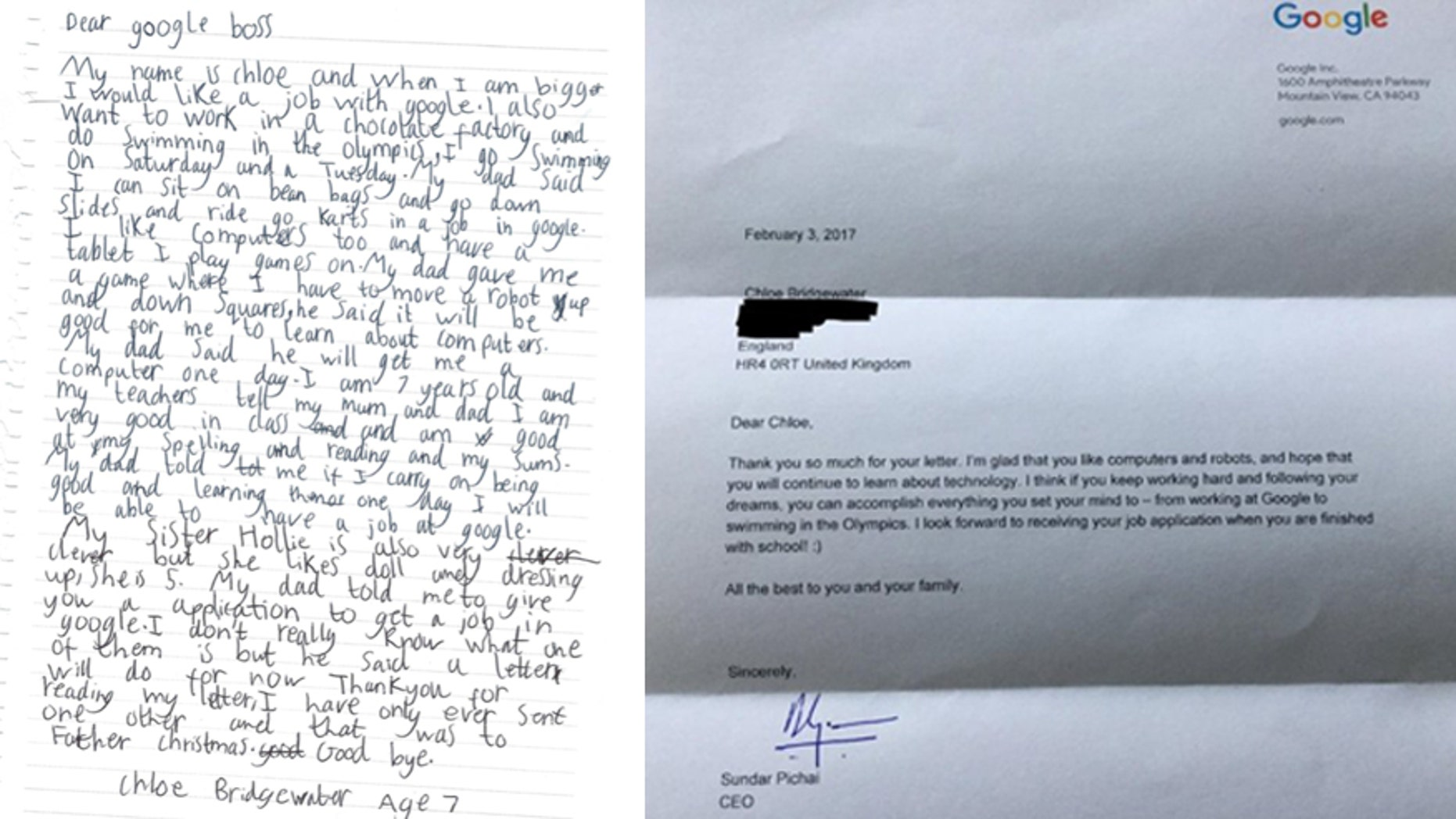 (Left) Letter Chloe Bridgewater, 7, sent to Google. (Right) Response letter from Google CEO Sundar Pichai.