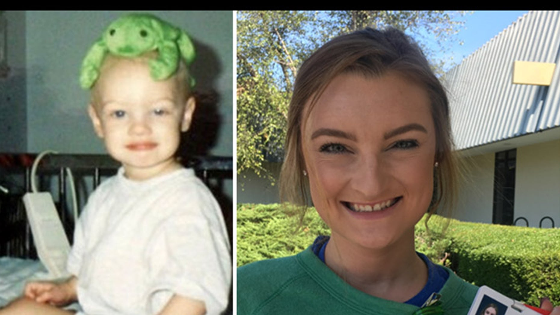 Children's Healthcare of Atlanta shared the above photos of Montana, where she is seen as a patient on the left, and as a nurse on the right.