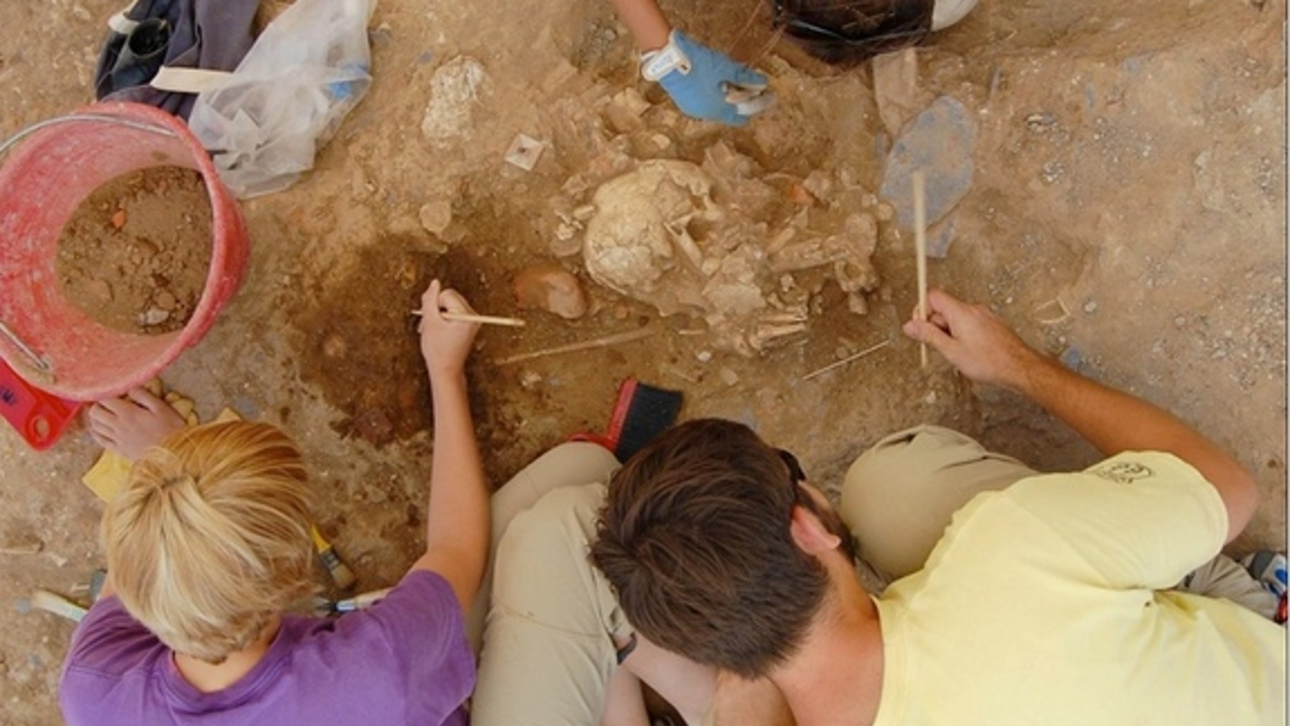 Students excavate bones at the Badia Pozzeveri cemetery in Tuscany, Italy.