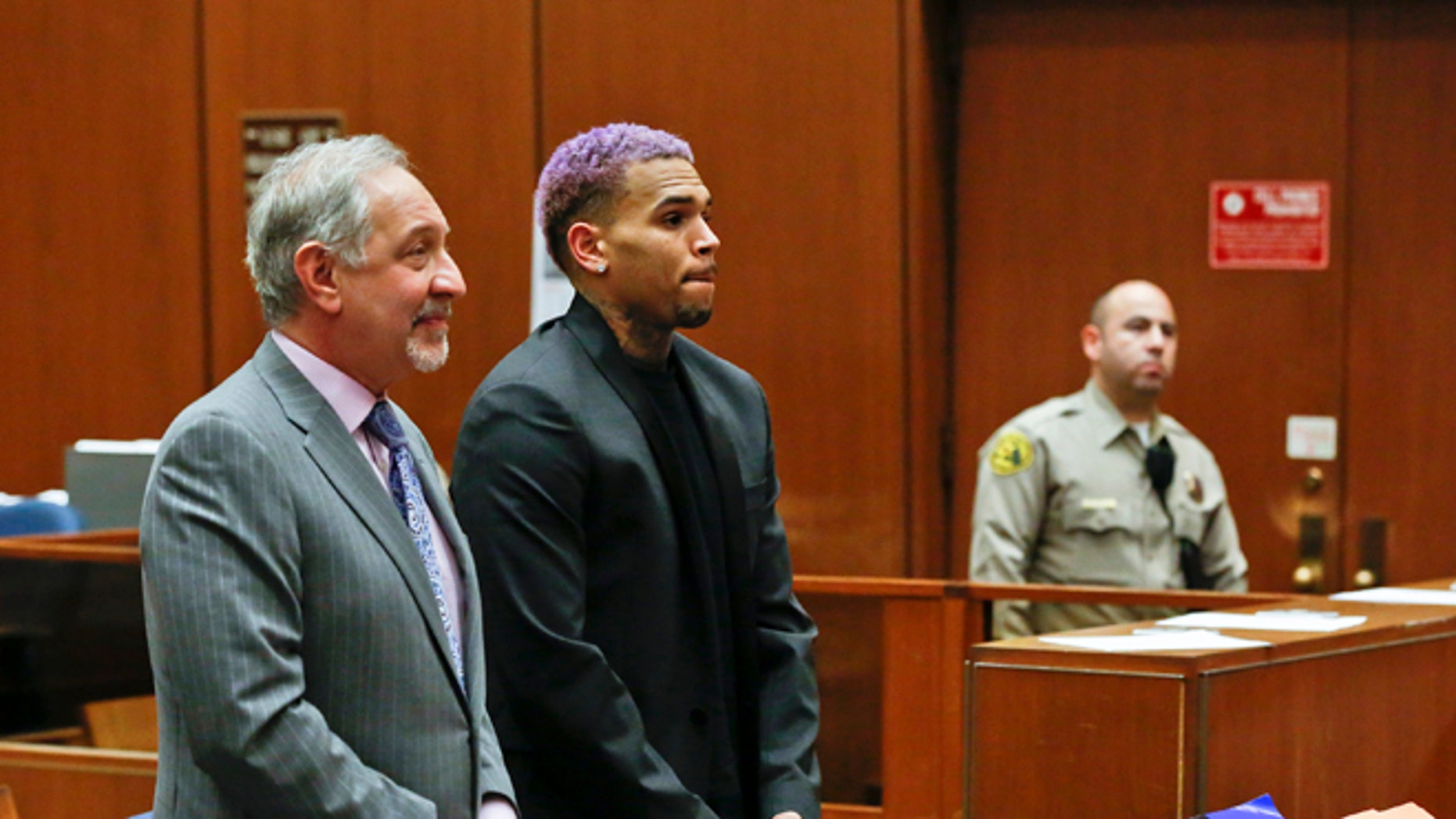 March 20, 2015. Chris Brown, right, appears with his attorney Mark Geragos, at a court hearing in the singer's long-running case over his 2009 attack on Rihanna in Los Angeles.