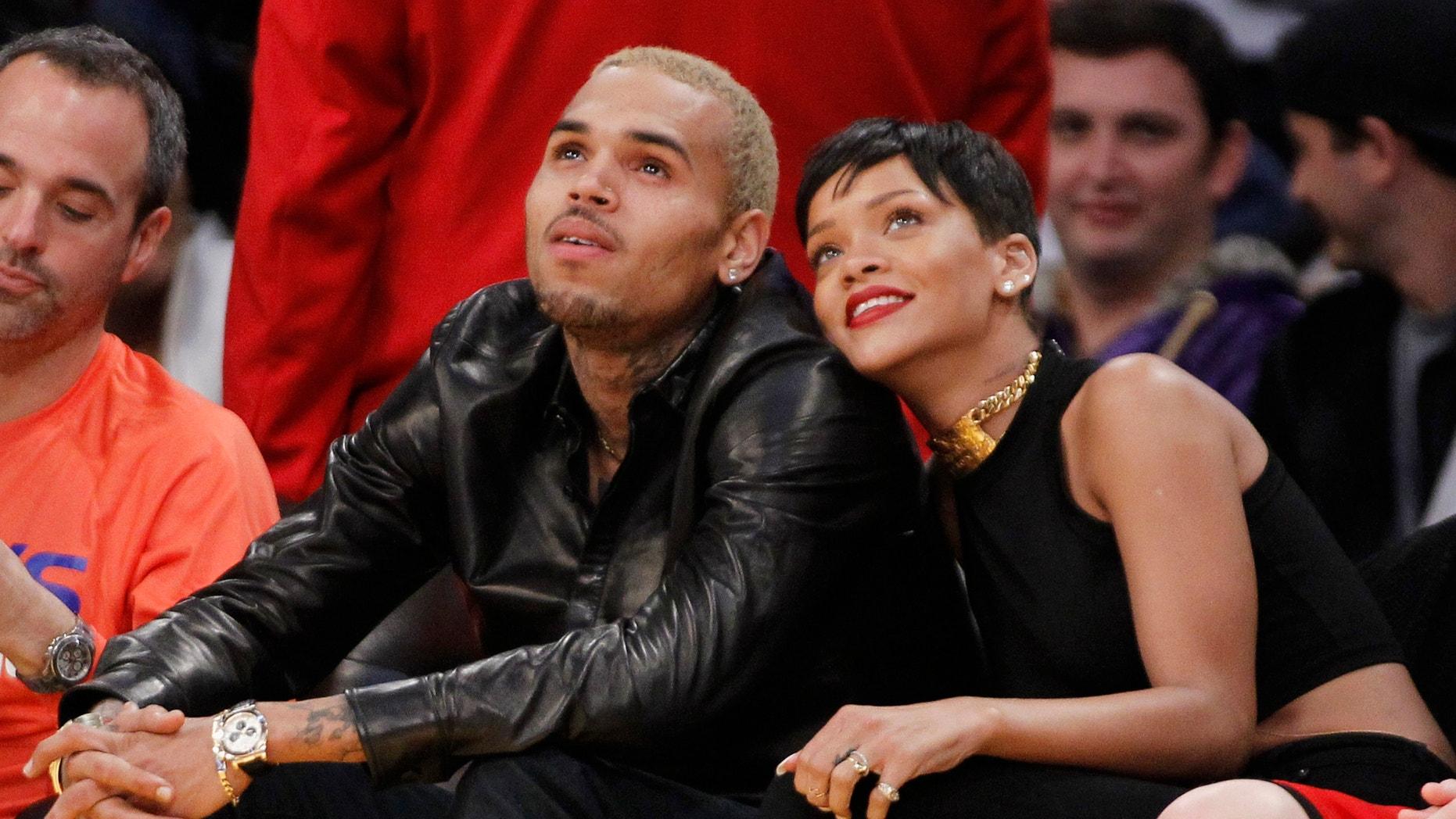 Chris Brown and Rihanna on Christmas, 2012.