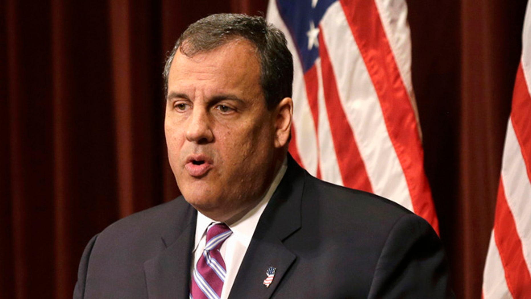 May 28, 2015:  New Jersey Gov. Chris Christie speaks in Pemberton, N.J. Christie, who spent three years as president of his high school class, returned to his alma mater Tuesday to make his 2016 presidential announcement.