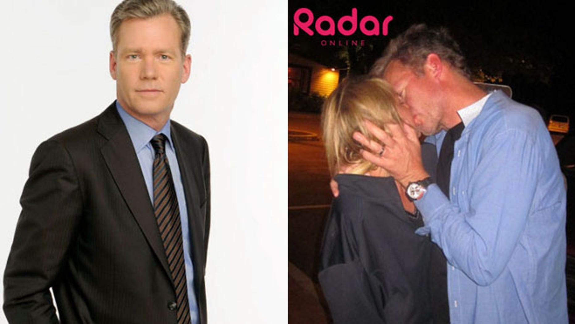 Chris Hansen is shown in an NBC promotional photo, left, and with his alleged former mistress Kristyn Caddell, right.