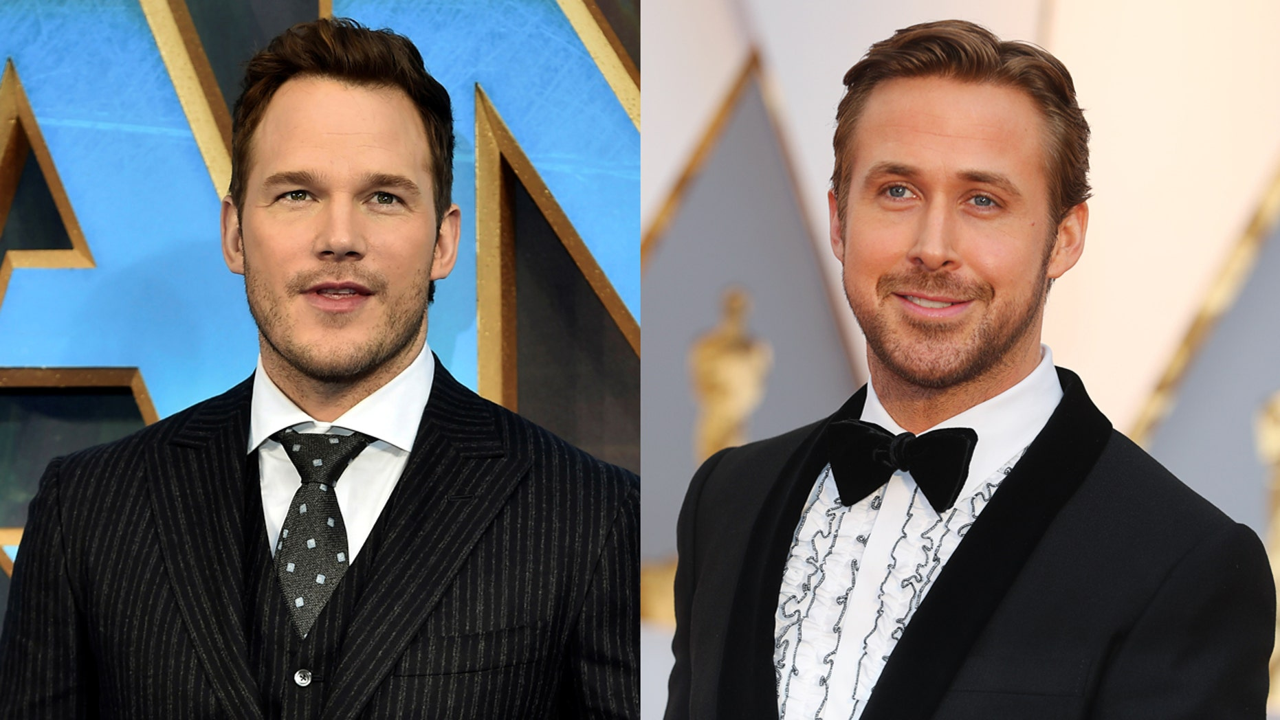 Chris Pratt, left, and Ryan Gosling are some of the most-sought after Hollywood male leading actors today.