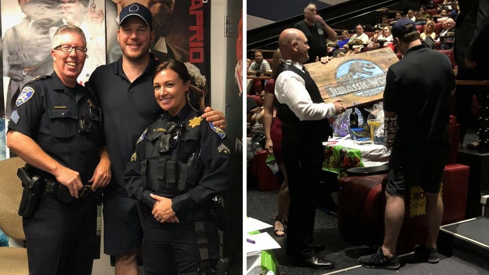 Chris Pratt surprises moviegoers on Thursday by attending a fundraiser at a California movie theater helping raise money for law enforcement member's children with cancer.