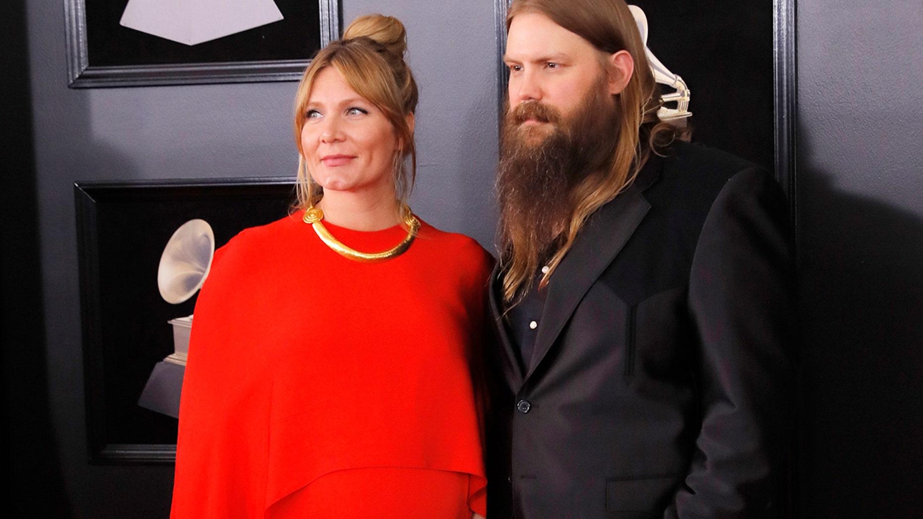 Chris Stapleton and Morgane Stapleton at the 60th Annual Grammy Awards.