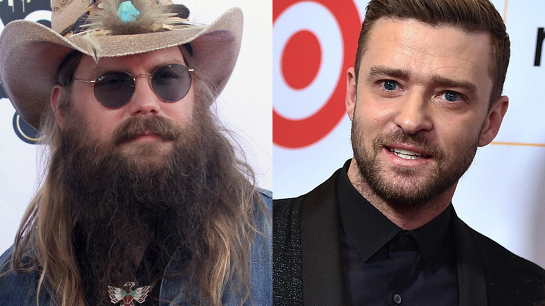 Country singer Chris Stapleton (left) and Justin Timberlake.