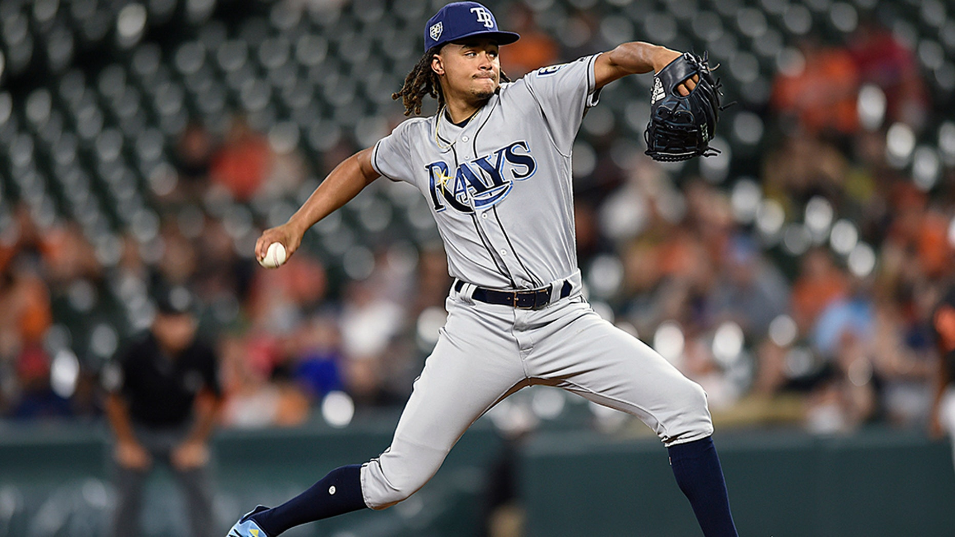 Tampa Bay Rays pitcher Chris Archer throws against the Baltimore Orioles in the first inning of a baseball game, Friday, July 27, 2018, in Baltimore. (AP Photo/Gail Burton)