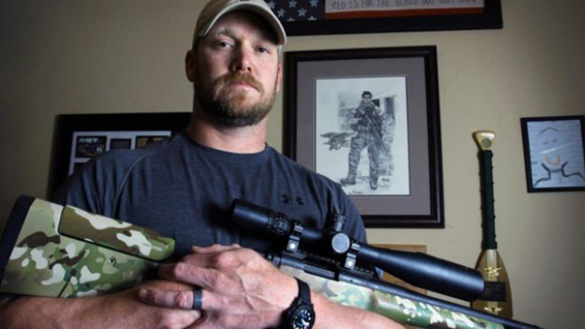 """April 6, 2012: Former Navy SEAL and author of the book """"American Sniper"""" poses in Midlothian, Texas."""