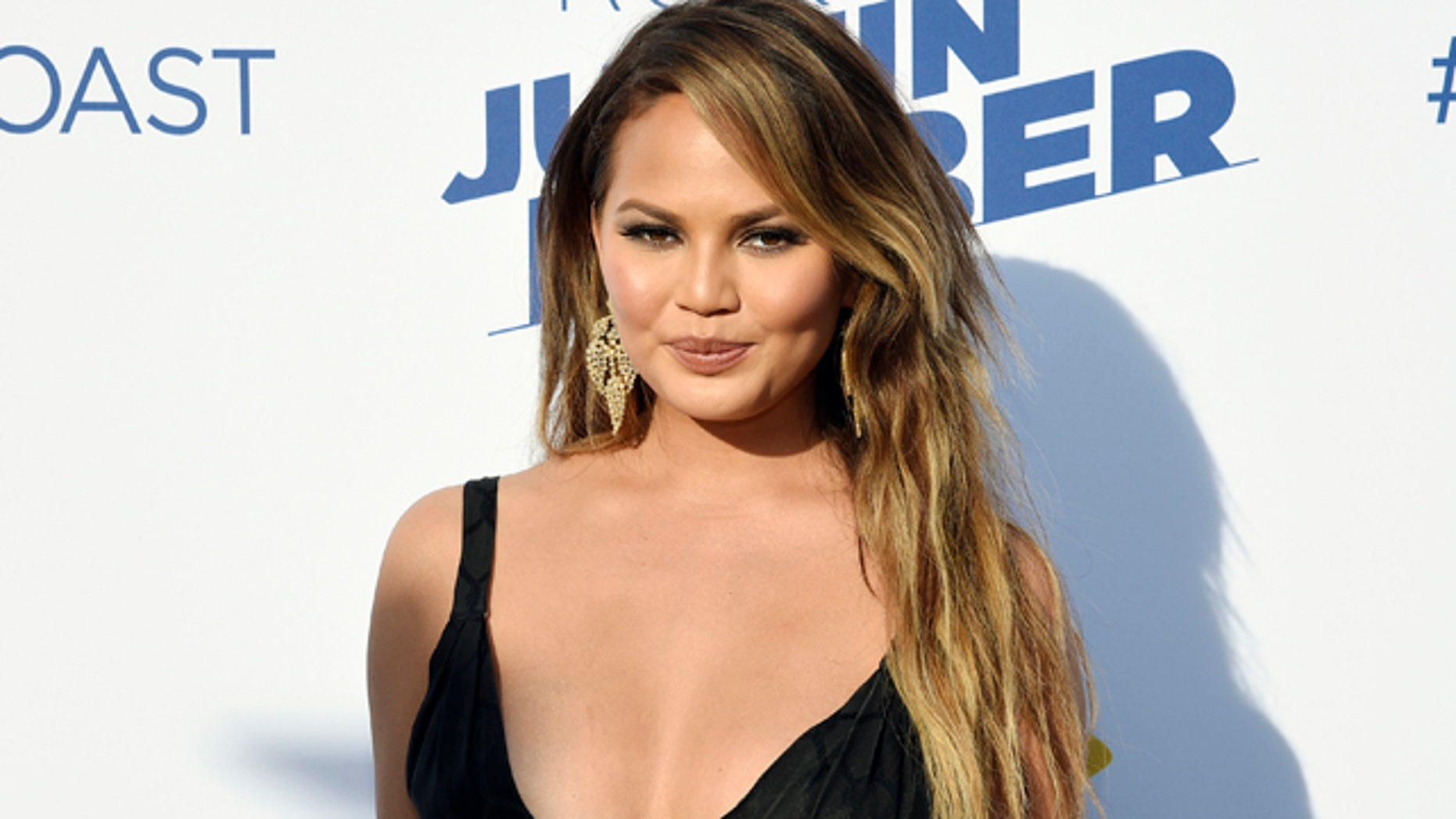 March 14, 2015. Model Chrissy Teigen poses during theComedy Central Roast of Justin Bieber at Sony Studios in Culver City, California.