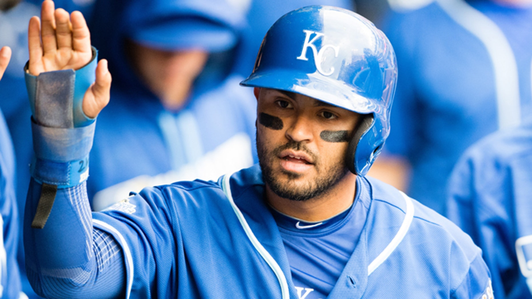 CLEVELAND, OH -  MAY 7: Christian Colon #24 of the Kansas City Royals celebrates after scoring during the fifth inning against the Cleveland Indians at Progressive Field on May 7, 2016 in Cleveland, Ohio. (Photo by Jason Miller/Getty Images)