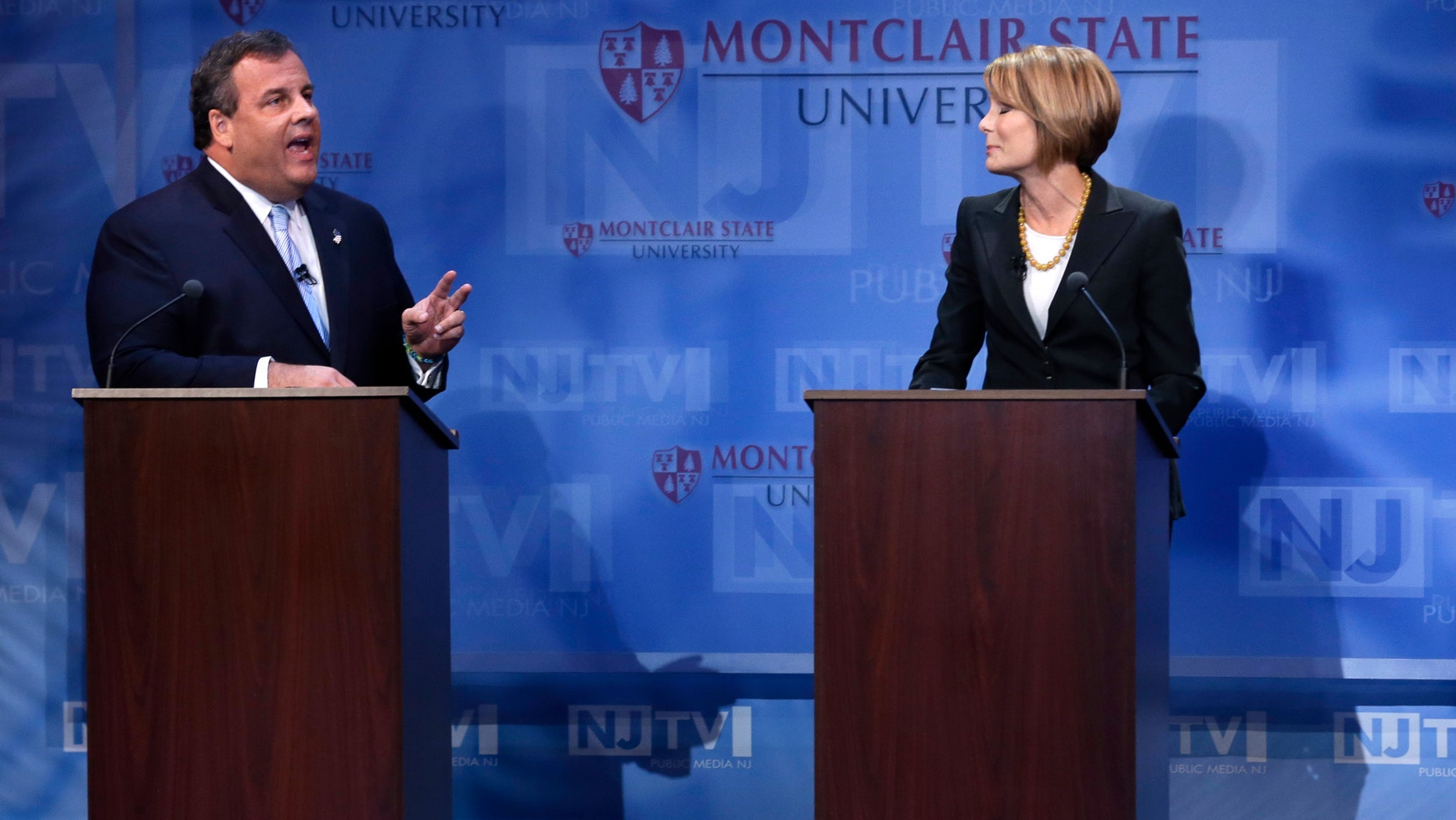 New Jersey Gov. Chris Christie and Democratic challenger Barbara Buono during their debate at Montclair University, Tuesday, Oct. 15, 2013.