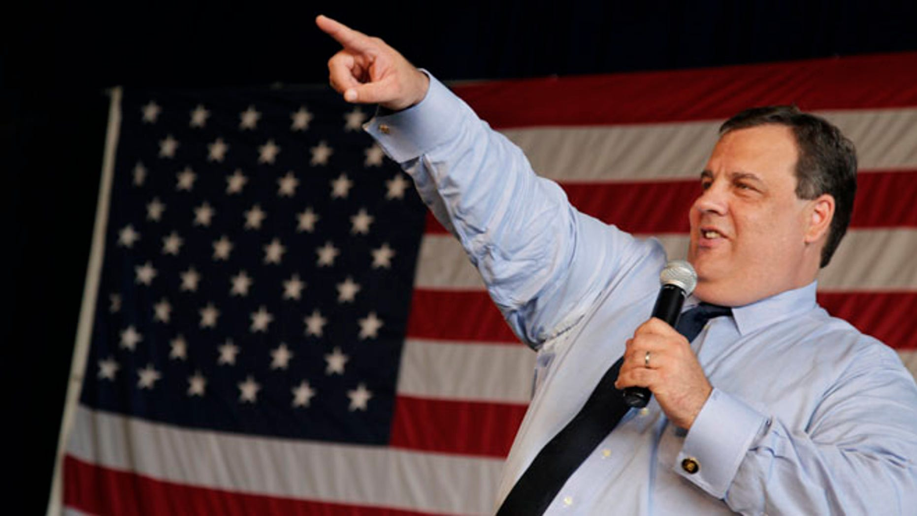 May 16, 2012: New Jersey Gov. Chris Christie jokes during a large town hall gathering in East Hanover, N.J.