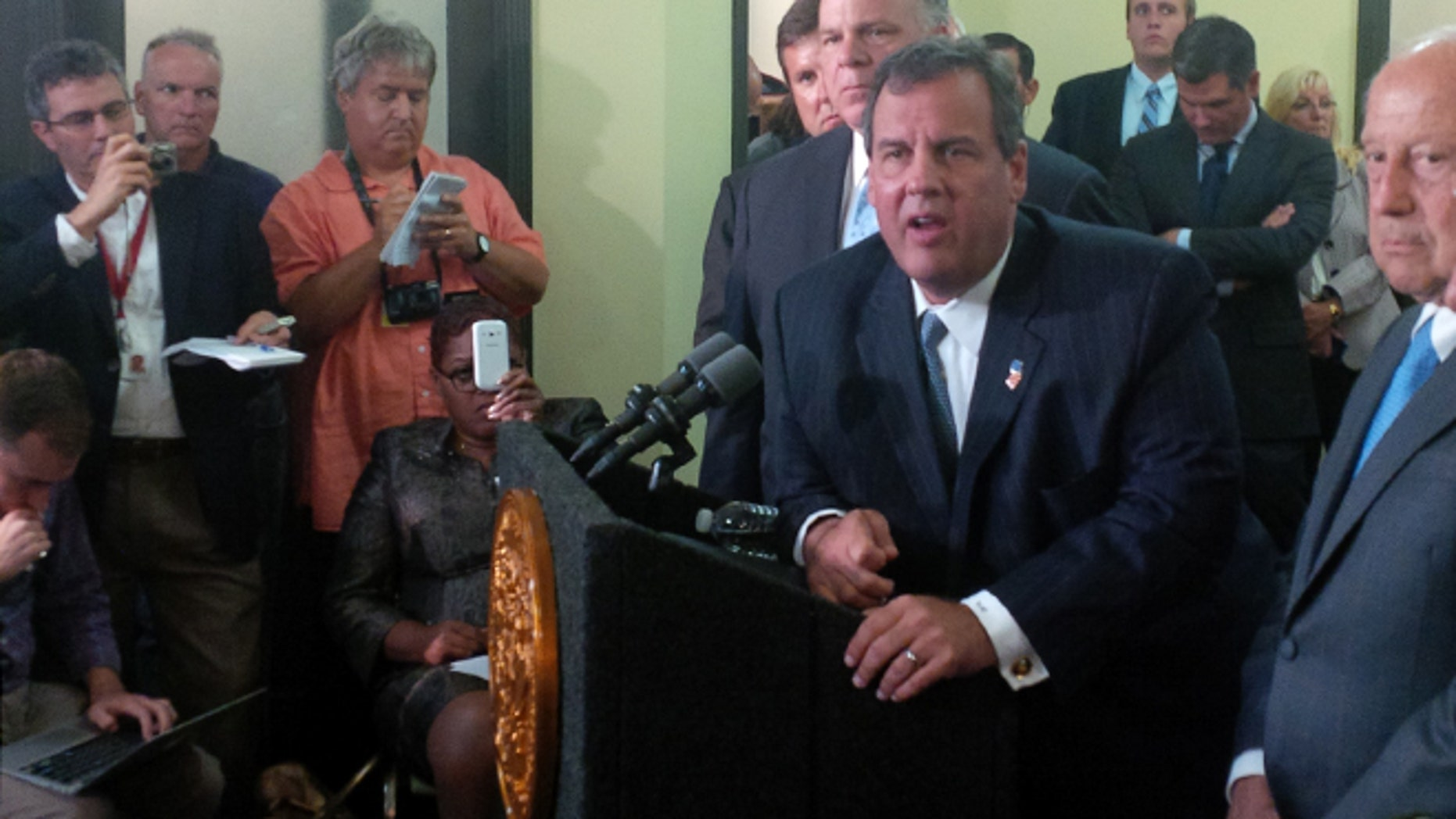 Sept. 8, 2014: New Jersey Gov. Chris Christie talks after a summit in Atlantic City, N.J., on how to help the resort after casino closings.