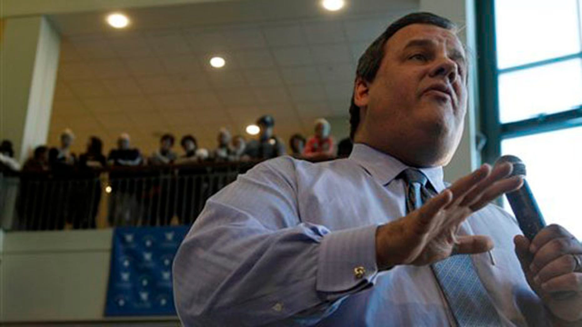Jan. 18, 2012: New Jersey Gov. Chris Christie answers a question in Voorhees, N.J., during a town hall meeting.
