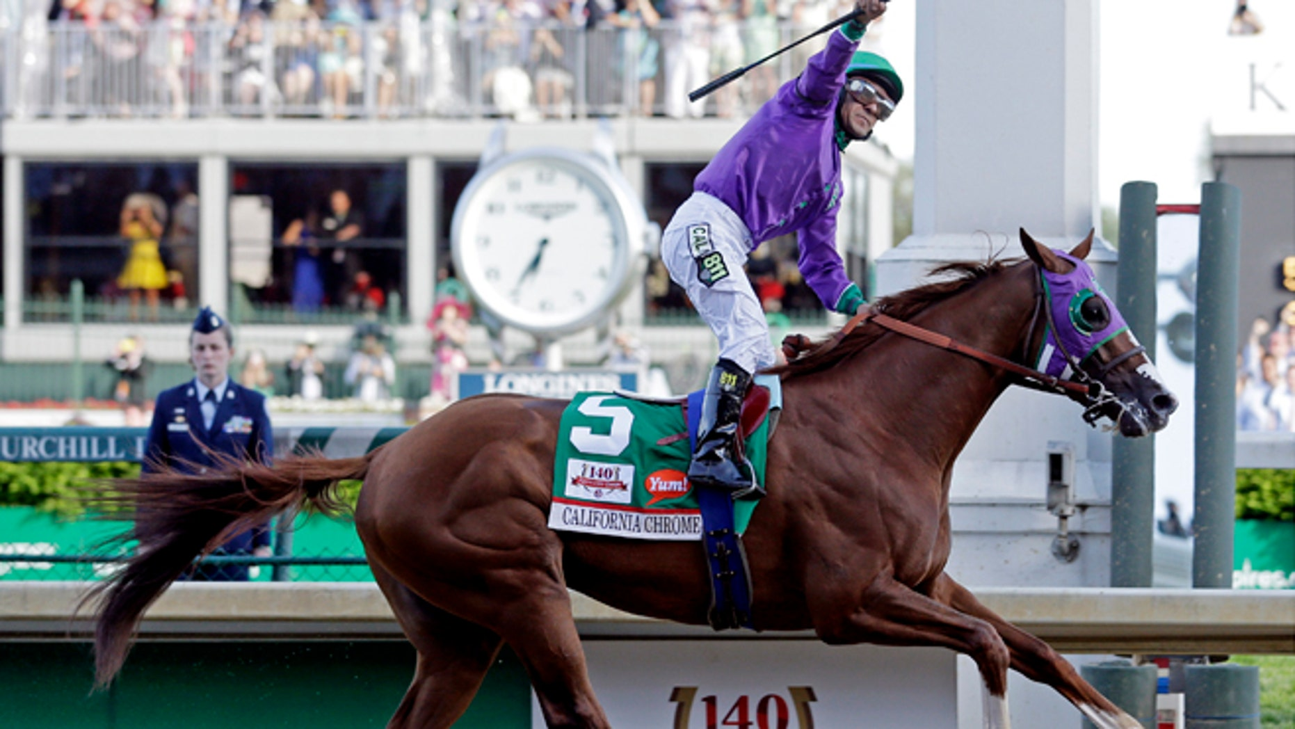 May 3, 2014: Victor Espinoza rides California Chrome to a victory during the 140th running of the Kentucky Derby horse race at Churchill Downs in Louisville, Ky. (AP)
