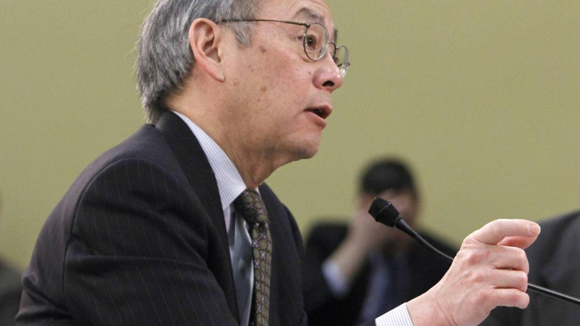 Energy Secretary Steven Chu testifies on Capitol Hill in Washington, Tuesday, March 15, 2011, before the House subcommittee on Energy and Water Development, and Related Agencies. (AP Photo)