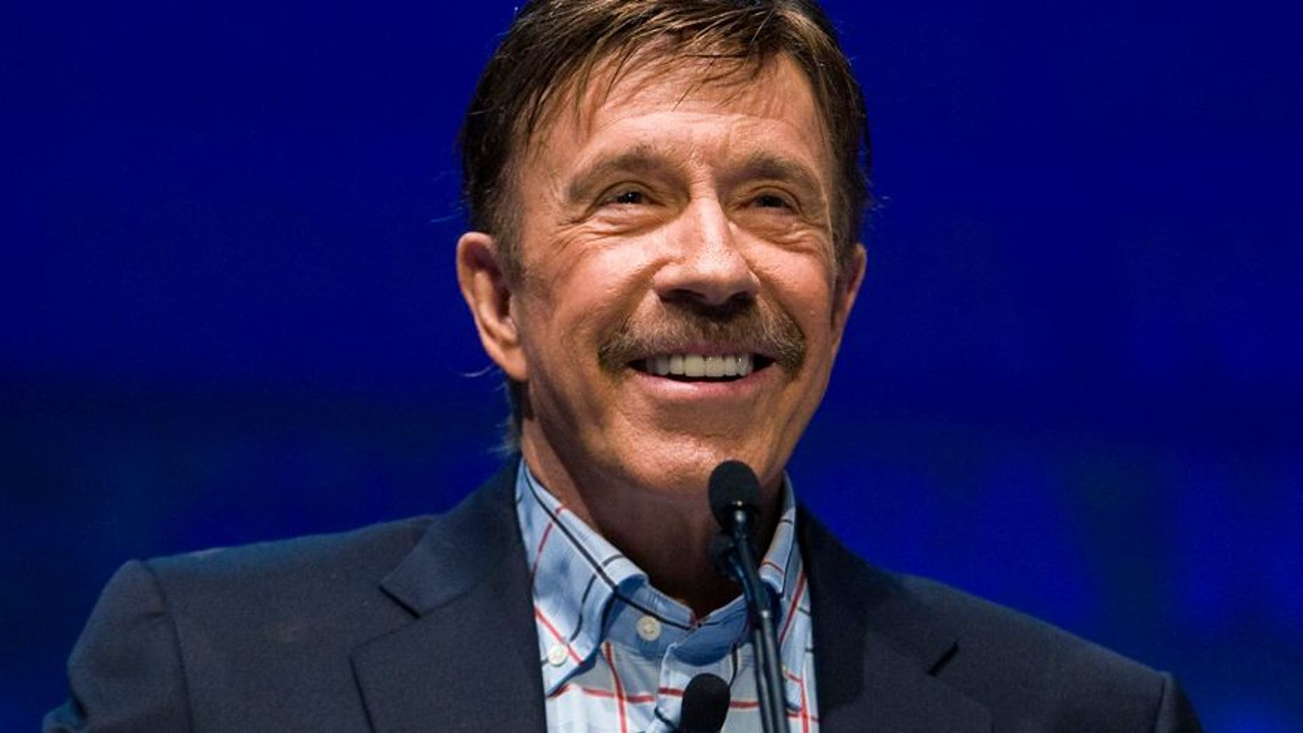 Actor Chuck Norris speaks during the National Rifle Association's 139th annual meeting in Charlotte, North Carolina May 14, 2010.