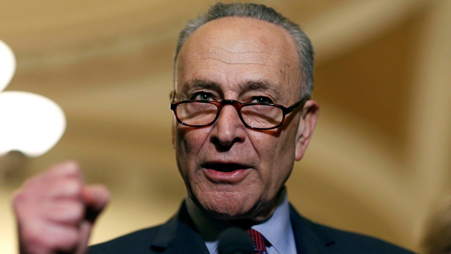 Senate Minority Leader Chuck Schumer (D-NY) speaks after the Senate Democratic weekly policy luncheon on Capitol Hill in Washington, U.S., March 6, 2018. REUTERS/Joshua Roberts - RC130406A550