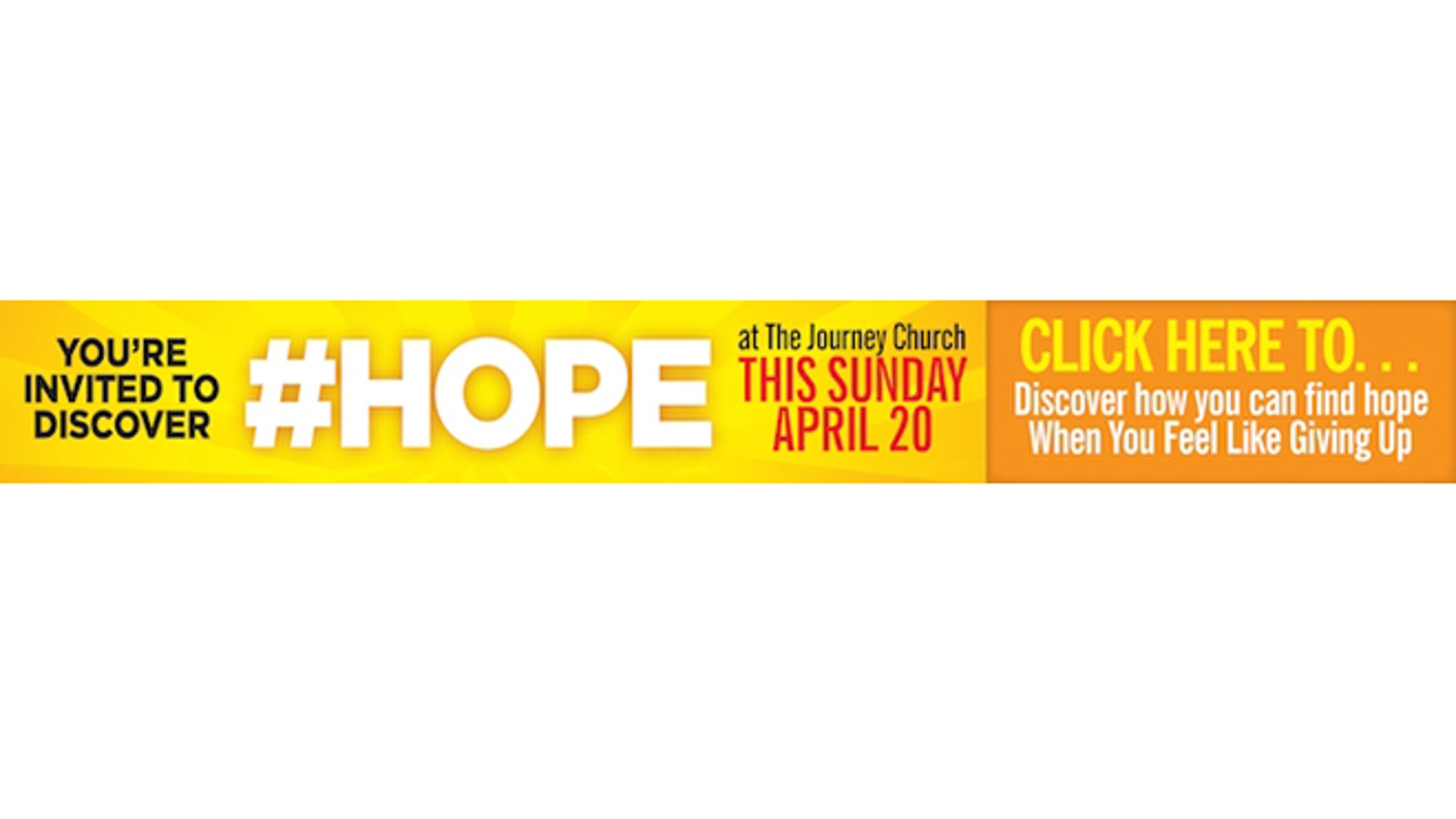 An ad for the Christian evangelical congregation Journey Church, which will run on the Capital New York website after the New York City news organization earlier told the group it was going to pull the advertising campaign.