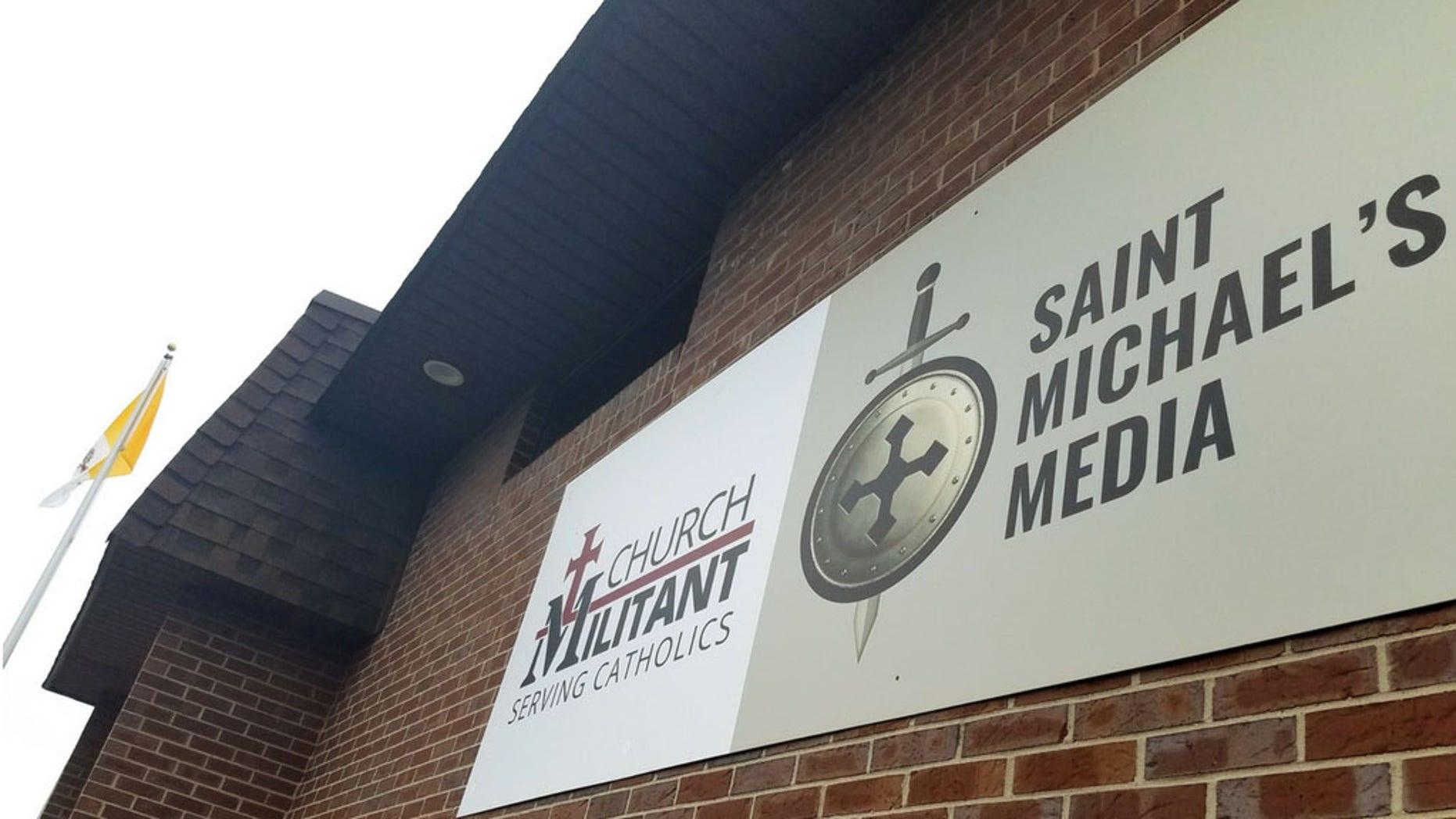 Outside Church Militant's headquarters in Michigan