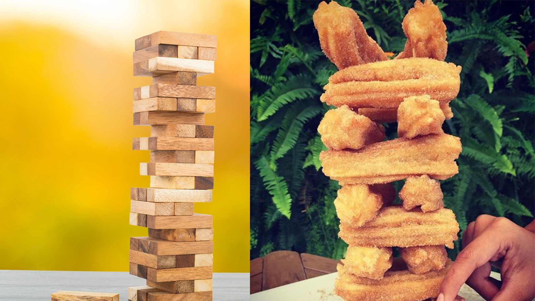 "Today, full-grown adults are embracing playing with food, thanks to a trend that they're calling ""Food Jenga."""