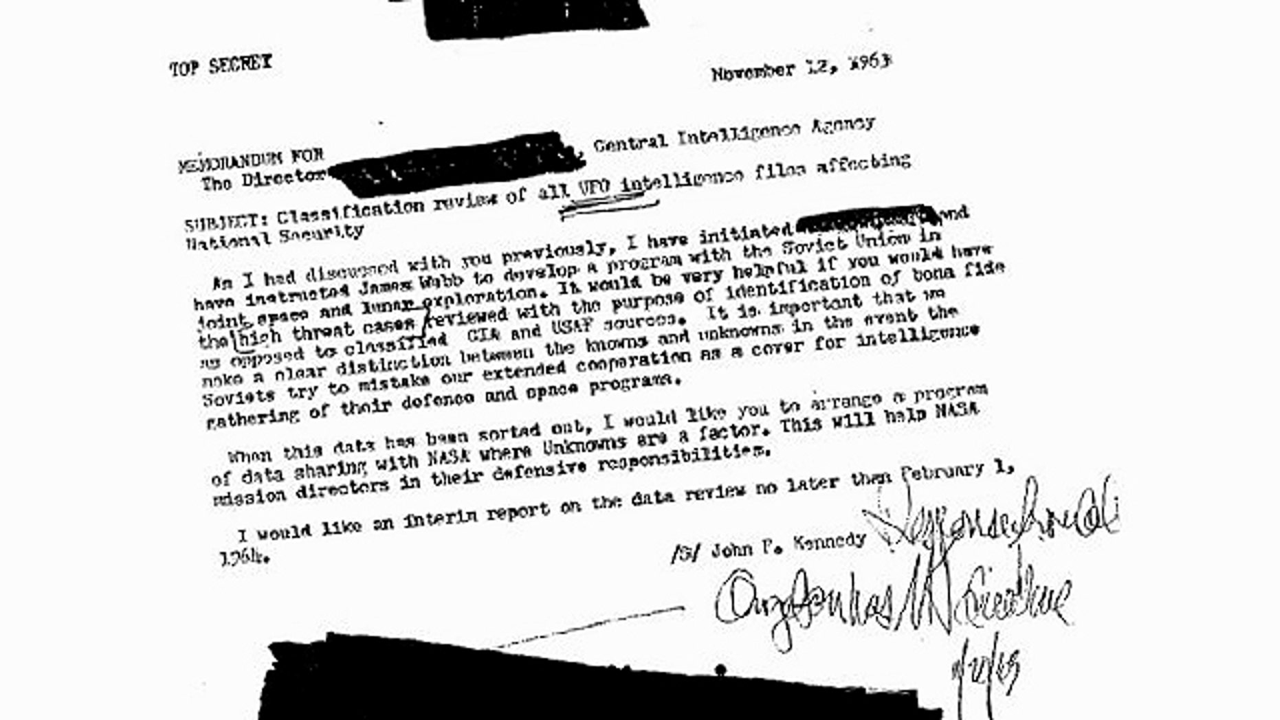 A redacted CIA memo that some claim suggests President John F. Kennedy wanted more information on UFOs during the Cold War.