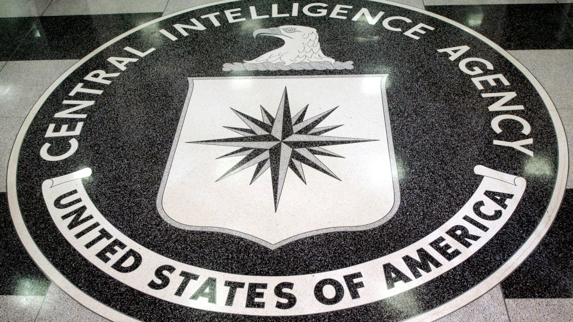The logo of the CIA as seen in the lobby of the agency's headquarters in Langley, Virginia.