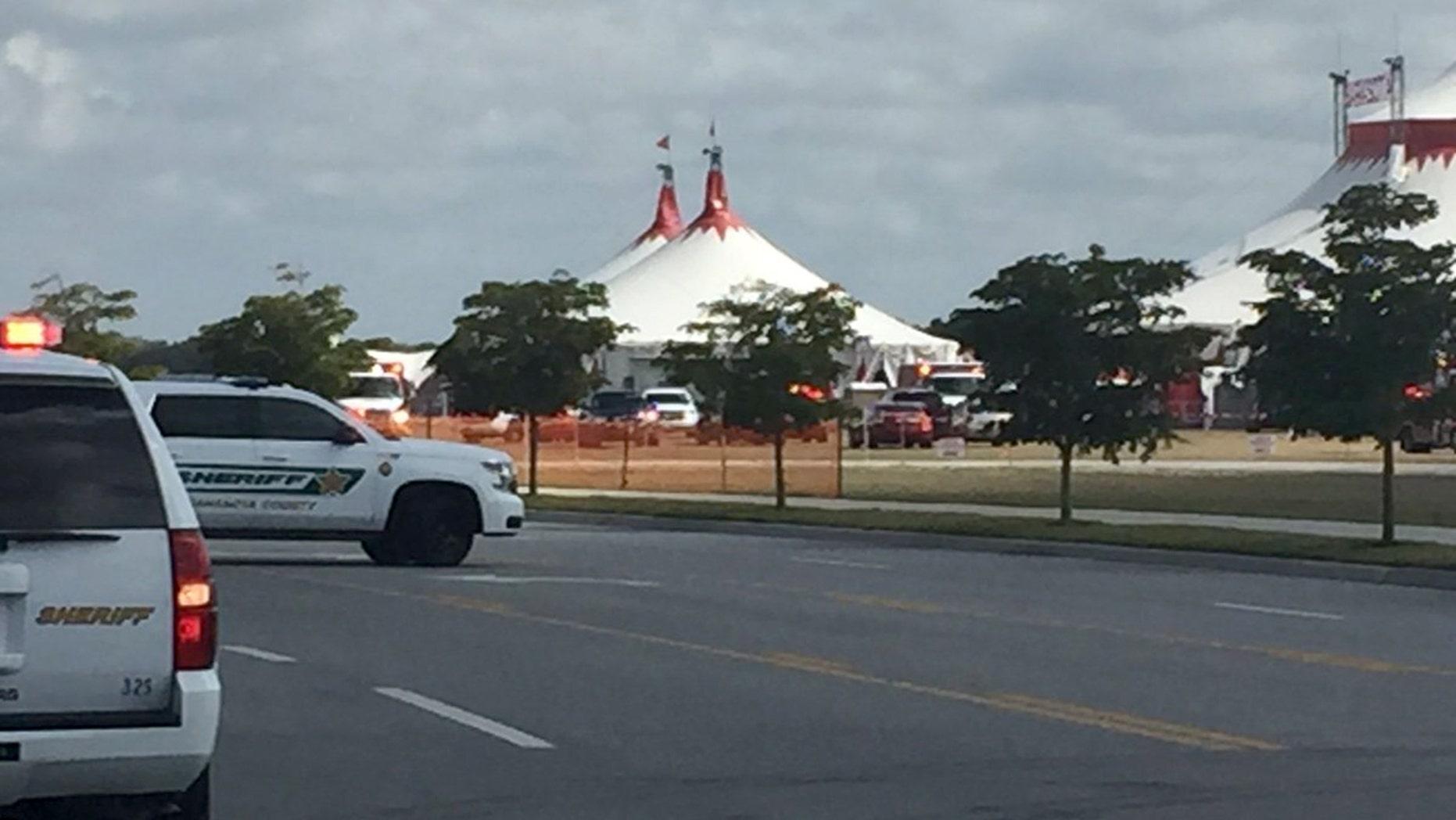 Emergency crews at the scene in Sarasota.
