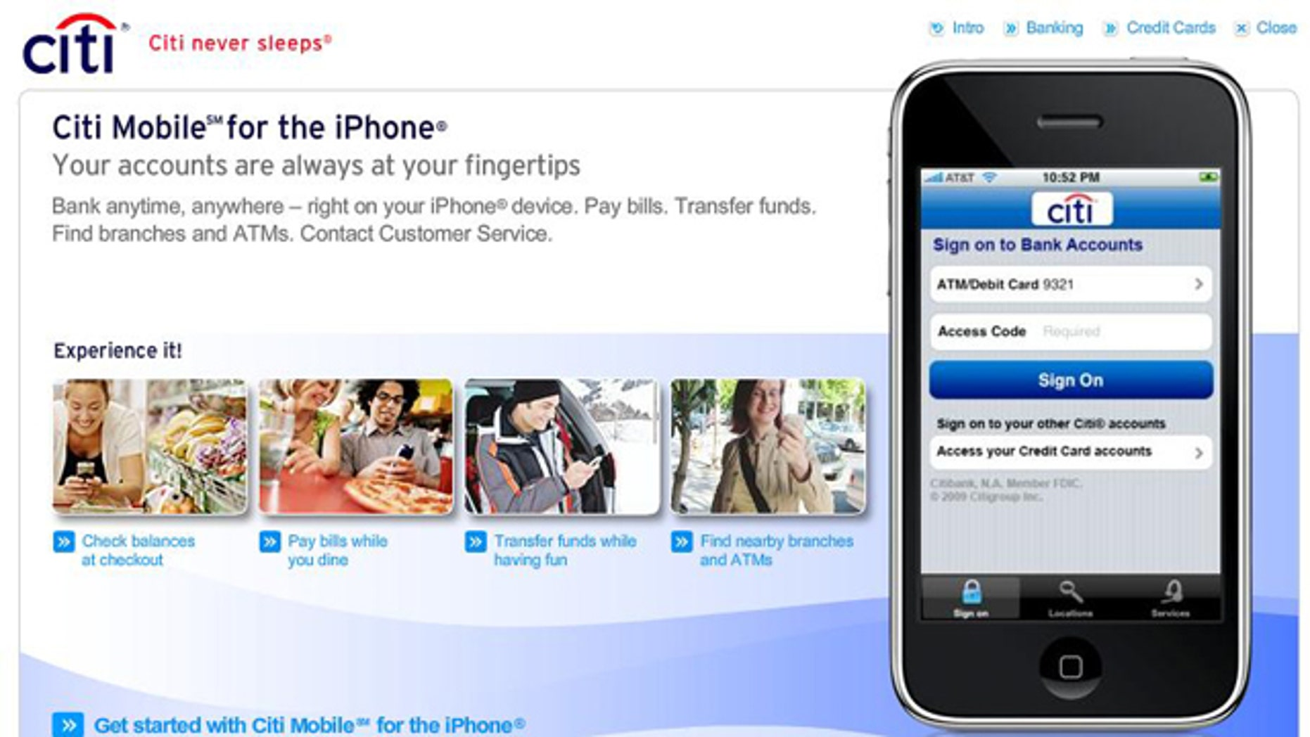 Citibank's iPhone app was accidentally storing user data, the company announced Monday.