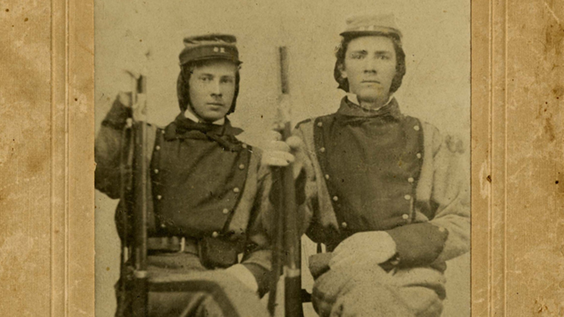 This photograph provided by the Library of Virginia William Henry Taylor, left, and Stephen Stewart, members of the 11th Virginia Infantry.