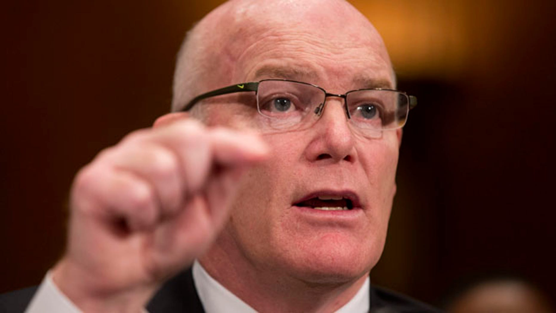 Mar. 19, 2015: Secret Service Director Joseph Clancy testifies on Capitol Hill in Washington before the Senate subcommittee on Regulatory Affairs and Federal Management hearing to review the fiscal 2016 funding request and budget justification for the Secret Service.