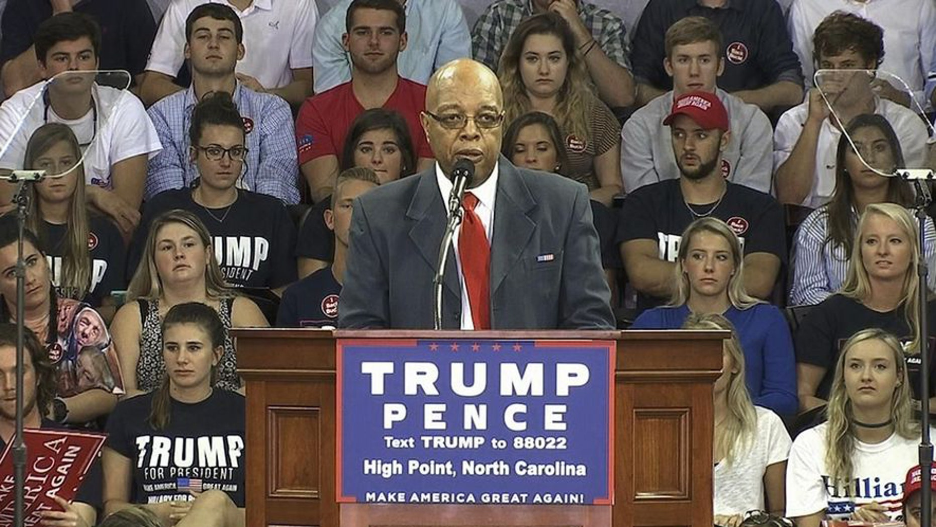FILE -- In this Tuesday, Sept. 20, 2016, image made from video, Clarence Henderson, a participant in the Feb. 1, 1960, sit-in at a Greensboro, N.C., Woolworth lunch counter, speaks at a campaign event in High Point, N.C., in support of Republican presidential candidate Donald Trump.
