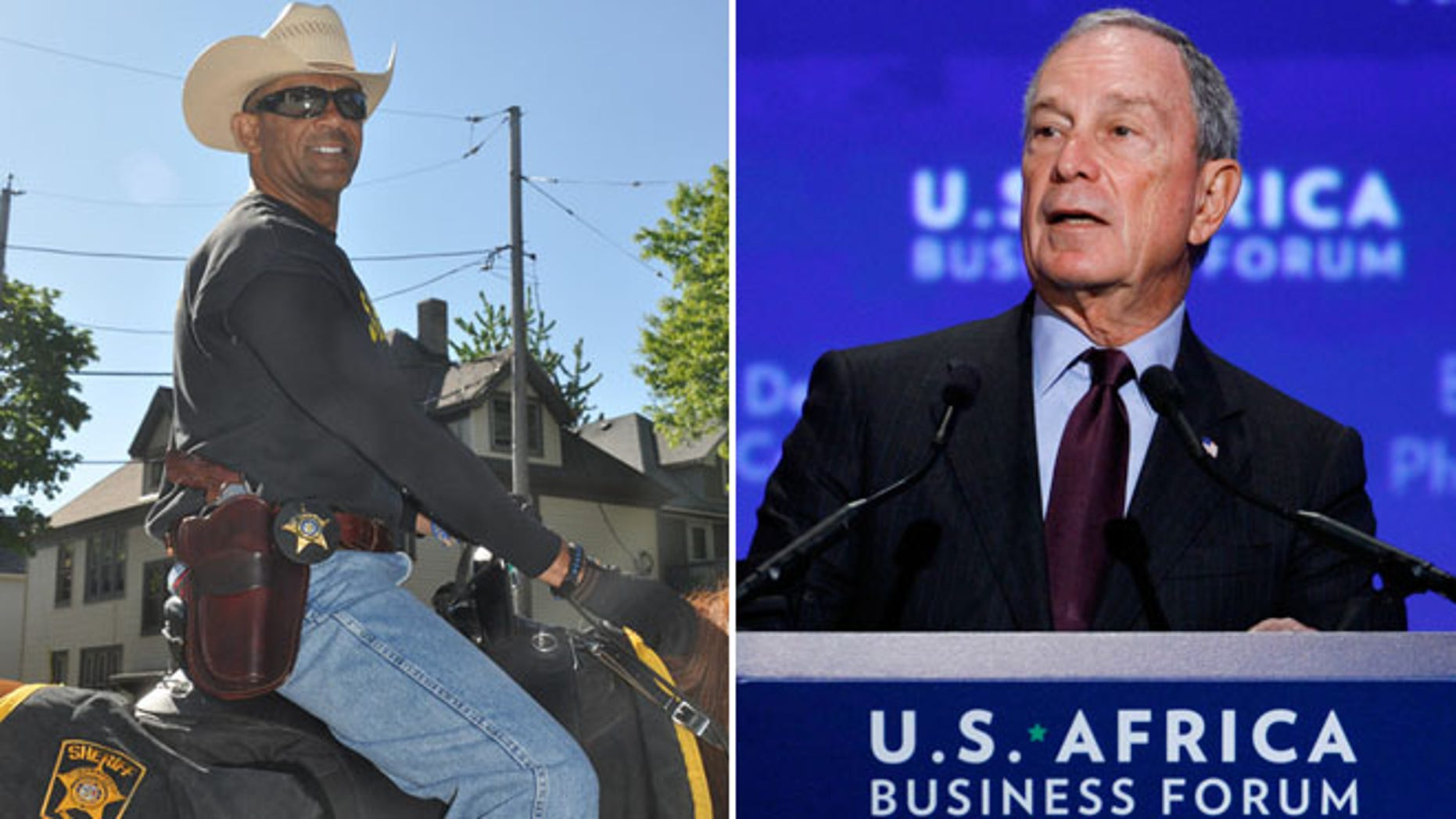 Milwaukee County Sheriff David A. Clarke, left, and former New York City Mayor Michael Bloomberg are seen in this composite image.