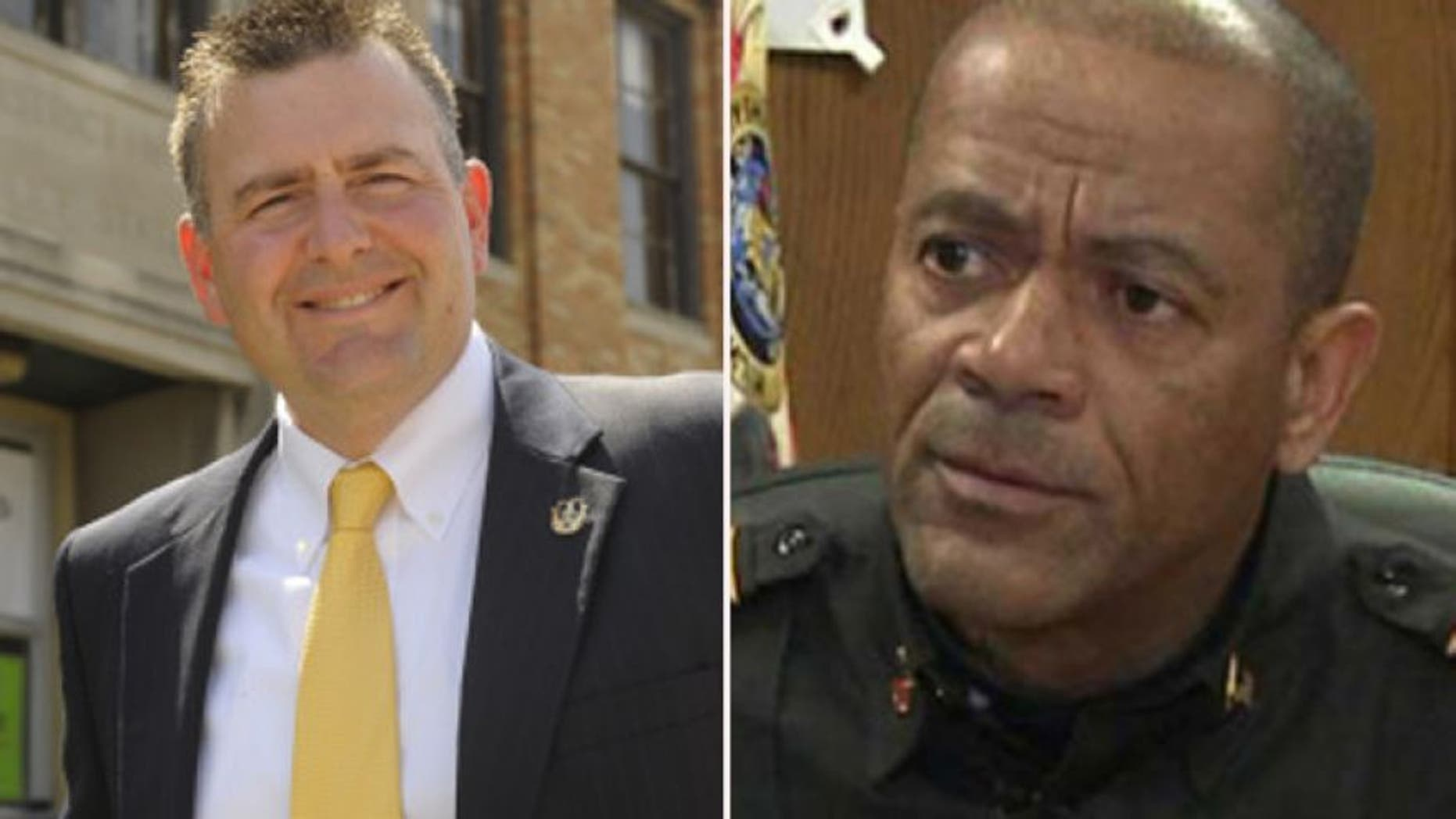 According to results from Fox6Now.com, Milwaukee County Sheriff David Clarke Jr., right, defeated longtime Milwaukee Police Lt. Chris Moews, left, in a Democratic primary that garnered national attention.  (Campaign photos via Fox6Now.com)