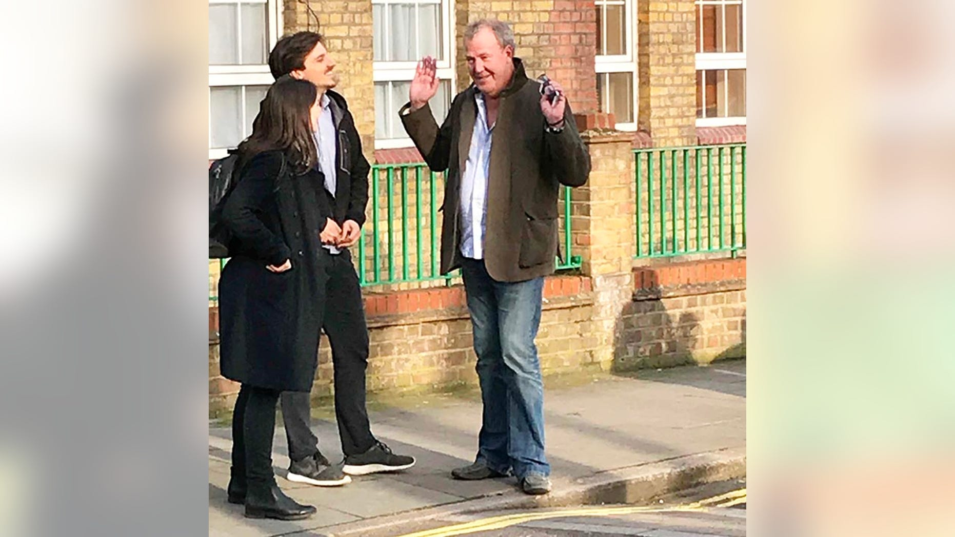 """**ONLINE EMBARGO UNTIL 6PM BST APRIL 8, 2018** Petrolhead Jeremy Clarkson ran into a bit of trouble when his SUV broke down on a London street - and had to call a recovery truck.  See SWNS story SWCLARKSON.  Jeremy Clarkson may once have driven to the North Pole on Top Gear but the motorhead was stranded on a London street when his SUV broke down.  The presenter, 57, hopped out of his vehicle in Rotherhithe, south east London, and was forced to wait until the RAC arrived at 5.45pm.  An onlooker said: """"He was standing in front of the car talking to two people on the street.  """"There were two RAC attendants checking his vehicle. The engine lid was open and they were sorting it out."""""""