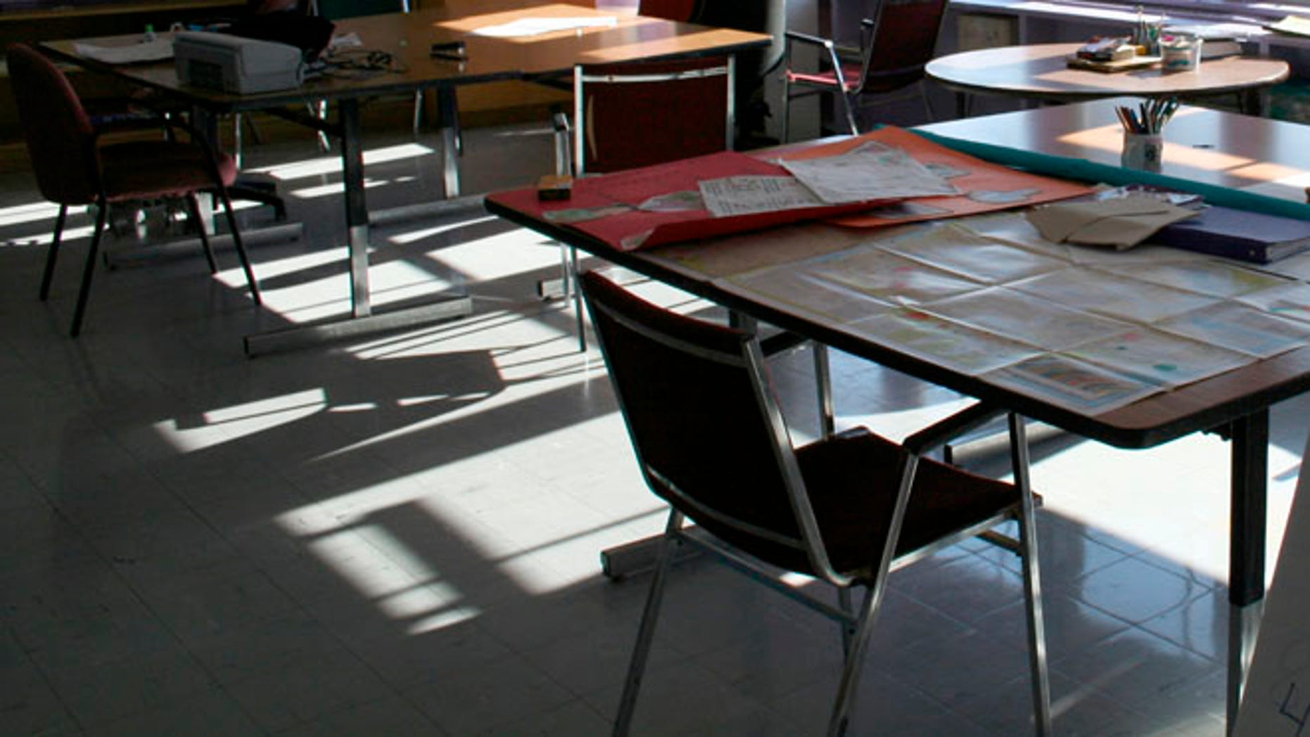 An empty classroom is shown in this 2008 file photo.