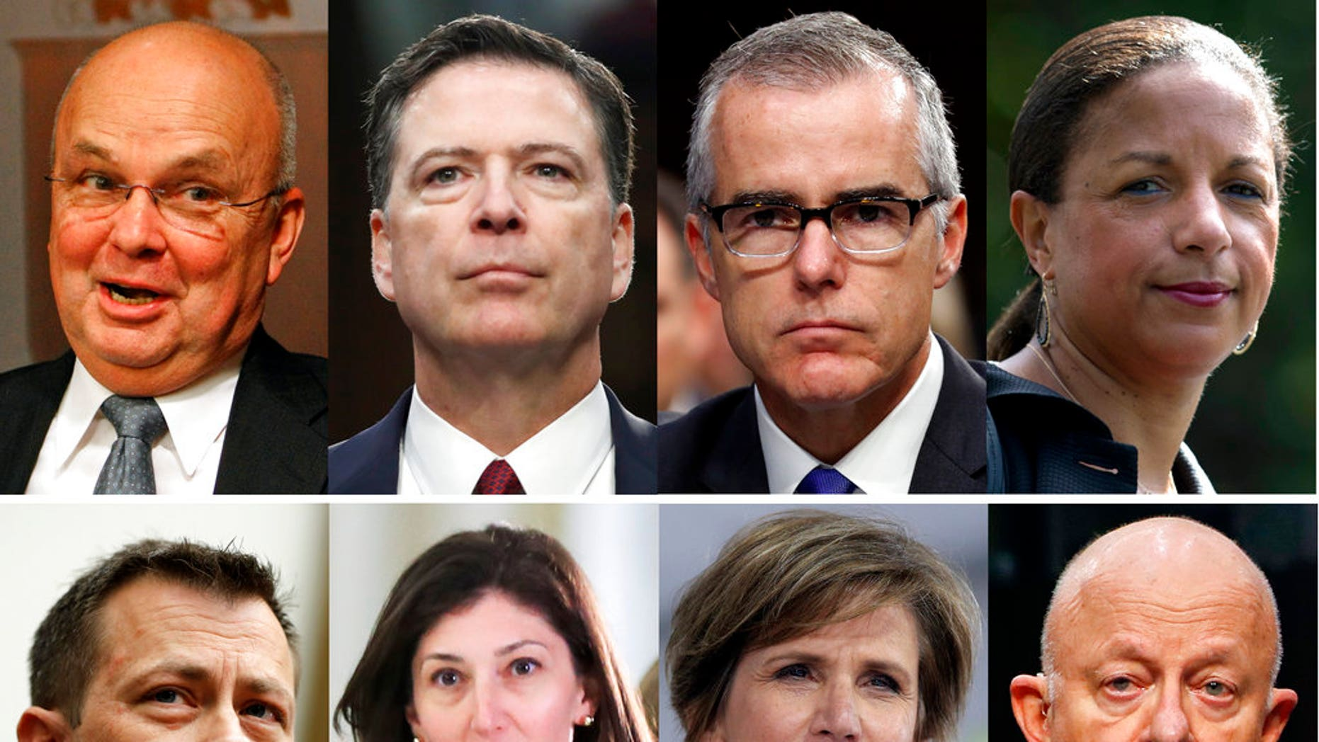 ADDS IDENTITY OF FORMER FBI LAWYER LISA PAGE  - These file photos, top row from left are former CIA Director Michael Hayden, former FBI Director James Comey, former acting FBI director Andrew McCabe and former national security adviser Susan Rice. Bottom row from left are former FBI Deputy Assistant Director Peter Strzok, former FBI lawyer Lisa Page, former Deputy Attorney General Sally Yates and former National Intelligence Director James Clapper. President Donald Trump acted Aug. 15, 2018, on a threat and revoked the security clearance of former CIA Director John Brennan, citing a constitutional responsibility to protect classified information. Trump says he is reviewing security clearances for nine other individuals, including the eight pictured. (AP Photo/Files)