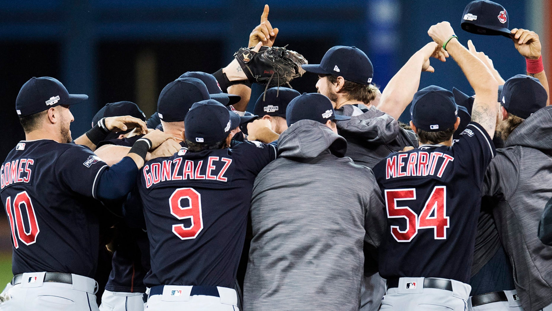 Oct. 19, 2016: The Cleveland Indians celebrate after defeating the Toronto Blue Jays 3-0 in Game 5 of the American League Championship Series in Toronto