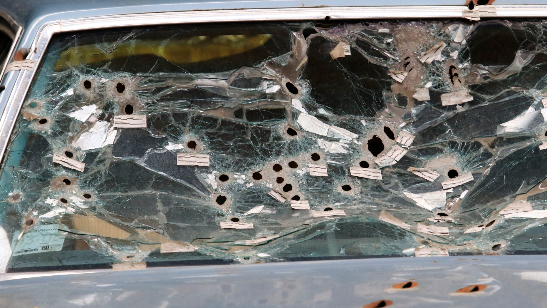 The front windshield of the car driven by Timothy Russell.