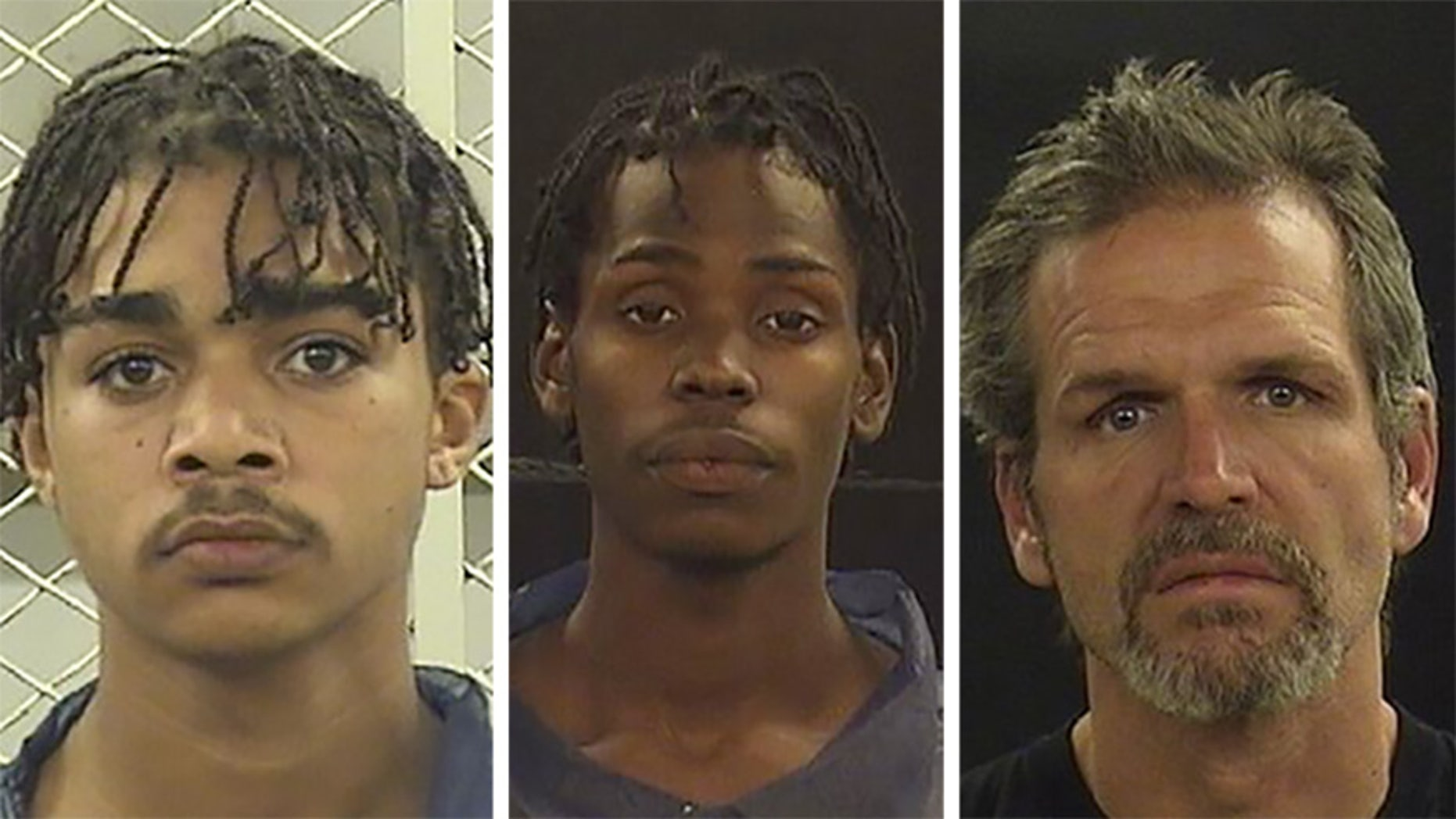 Nathaniel Ramos Jr., 18, left, Keli Dunnican, 22, and Troy White, 47, are accused of assaulting, raping, and dousing two men with gasoline.