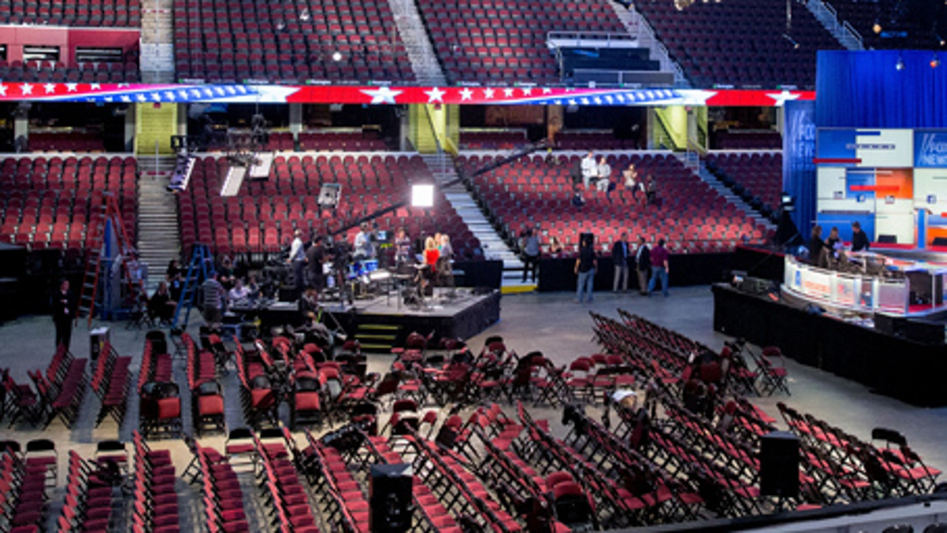 Final preparations at the Quicken Loans Arena in Cleveland, Aug. 6, 2015, for the first GOP presidential debate.