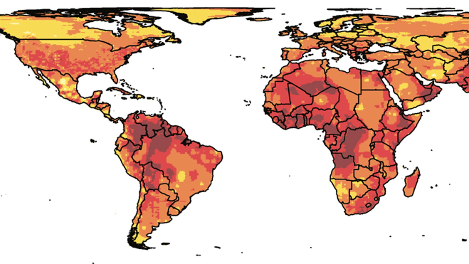 Researchers from Princeton University and the University of California-Berkeley suggest that more human conflict is a likely outcome of climate change. The researchers found that even one standard-deviation shift -- the amount of change from the local norm -- in temperature and precipitation greatly increase the risk of personal violence and social upheaval. Climate-change models predict an average of 2 to 4 standard-deviation shifts in global climate conditions by 2050 (shown here with darker colors), with 4 representing the greatest change in normal conditions.