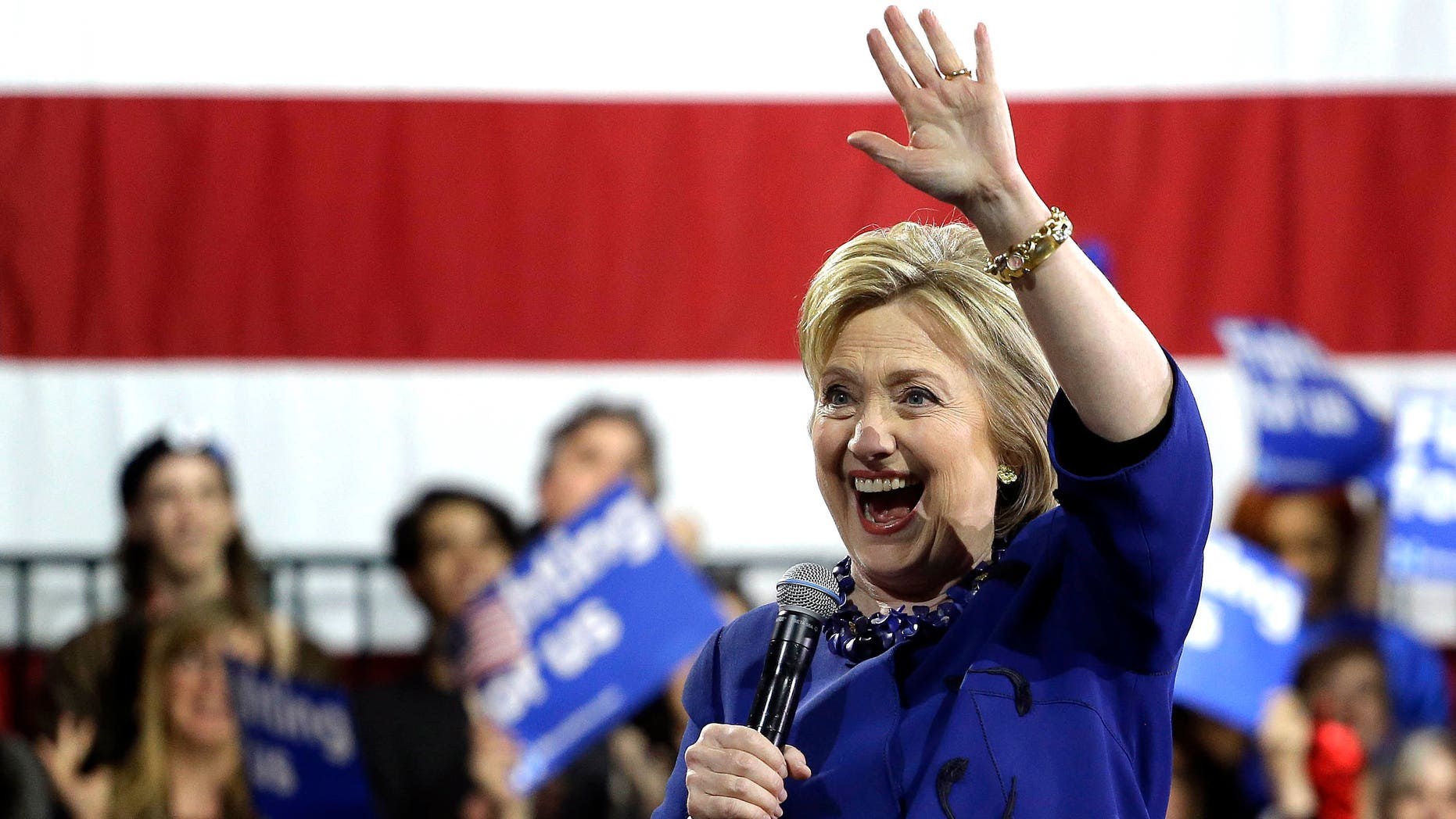 Presidential candidate Hillary Clinton at a campaign rally, Wednesday, March 2, 2016, in New York.