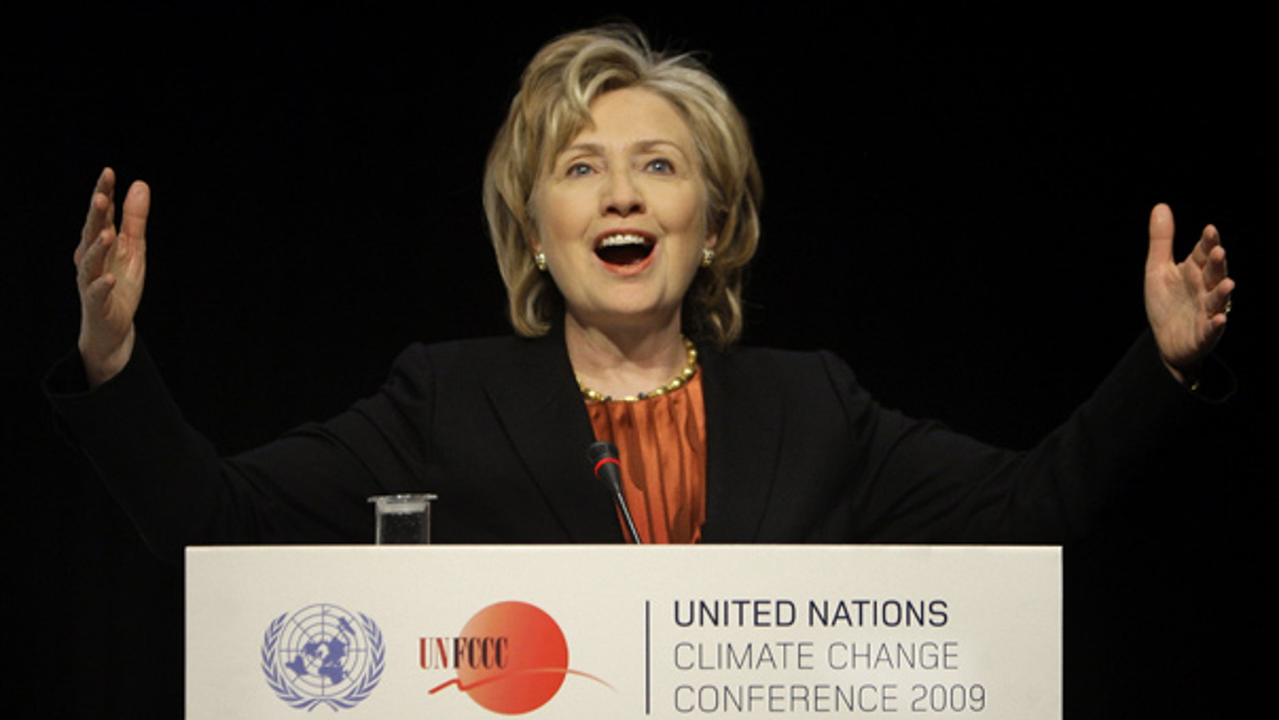 Dec. 17: Secretary of State Hillary Clinton gestures during a press briefing at the climate summit in Copenhagen, Denmark. (AP)