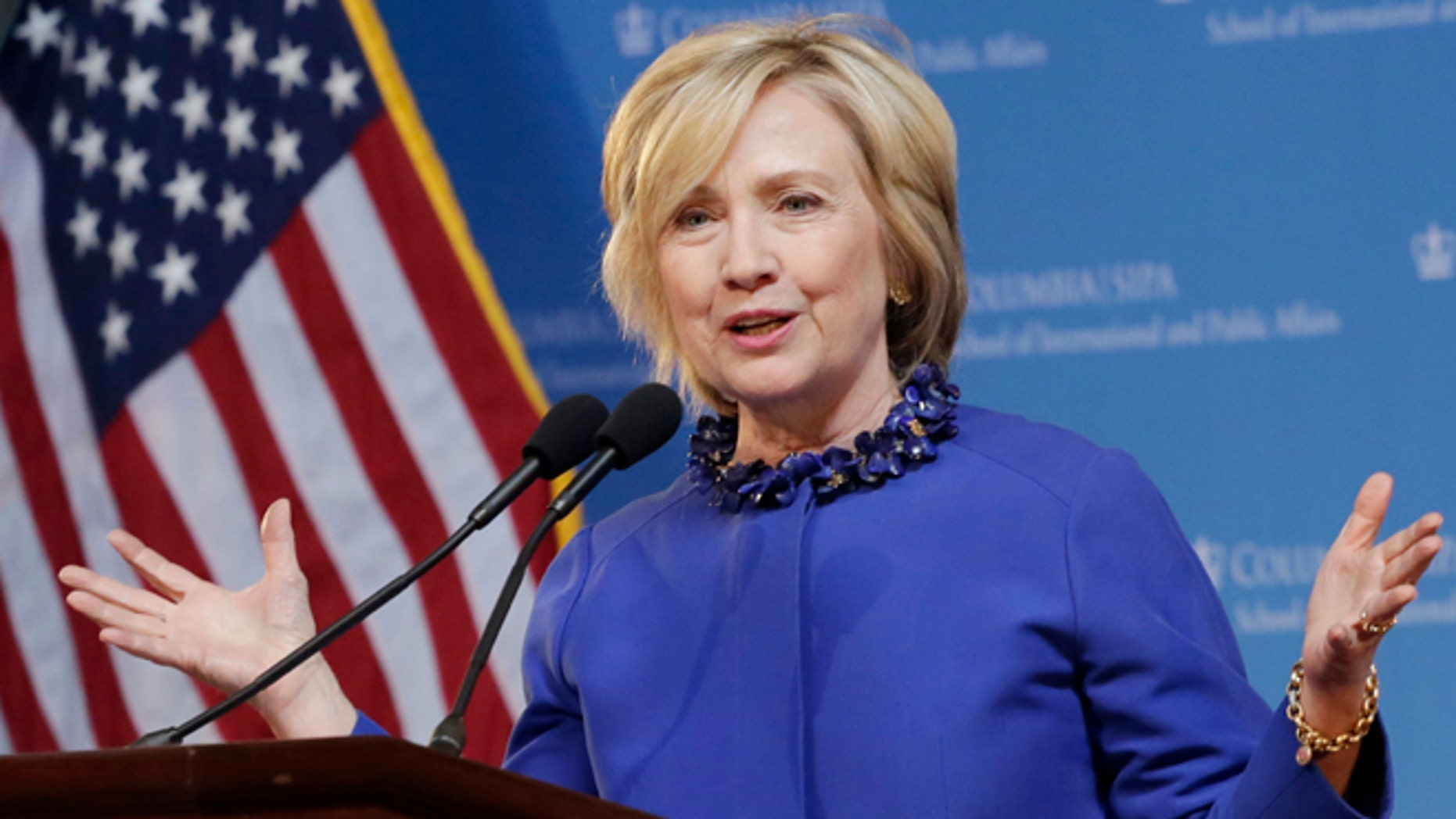 April 29, 2015: Hillary Clinton speaks at the David N. Dinkins Leadership and Public Policy Forum in New York.