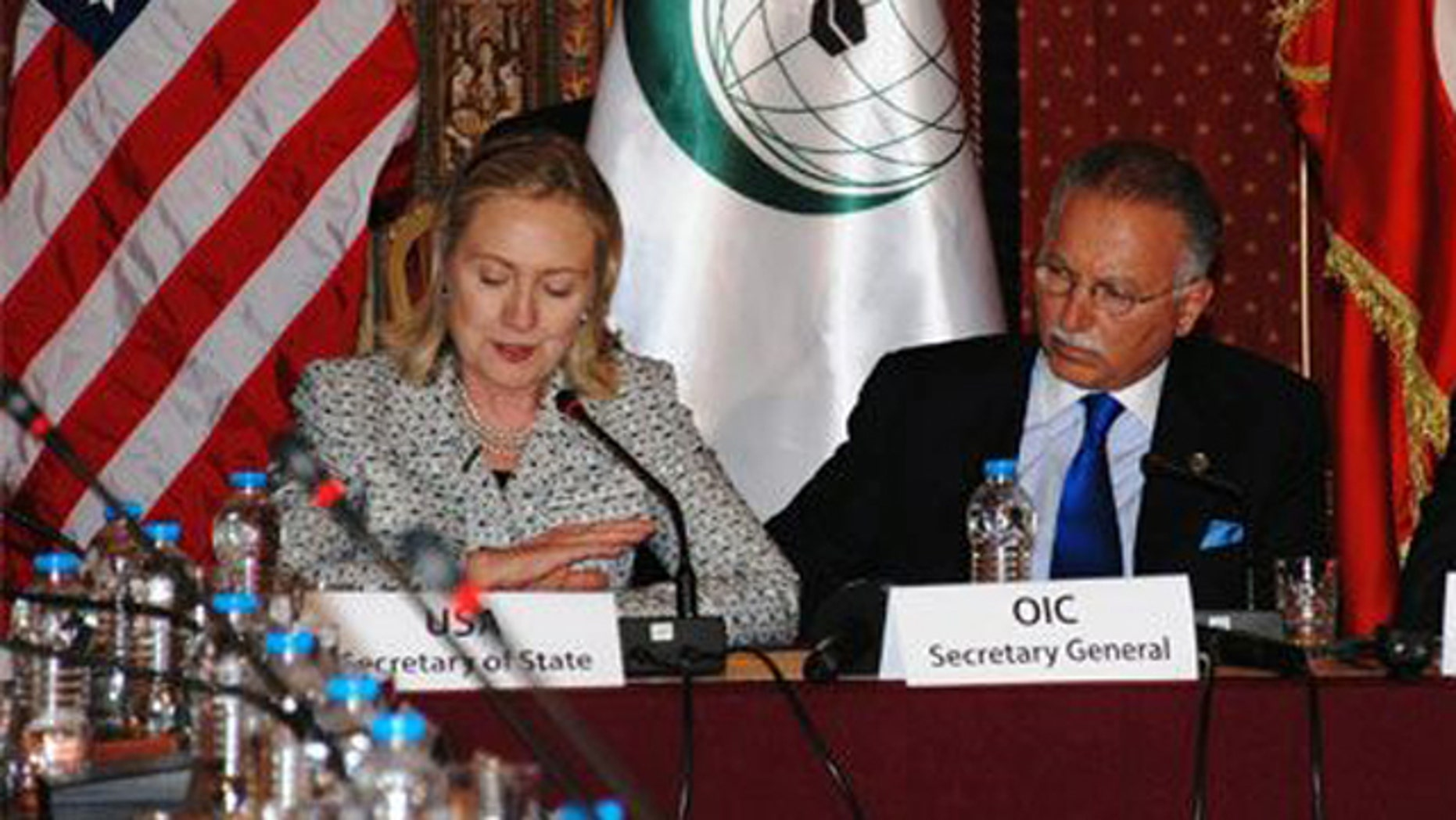 July 15, 2011: Shown here are Secretary of State Hillary Clinton and OIC Secretary General Ekmeleddin Ihsanoglu at a meeting in Istanbul.